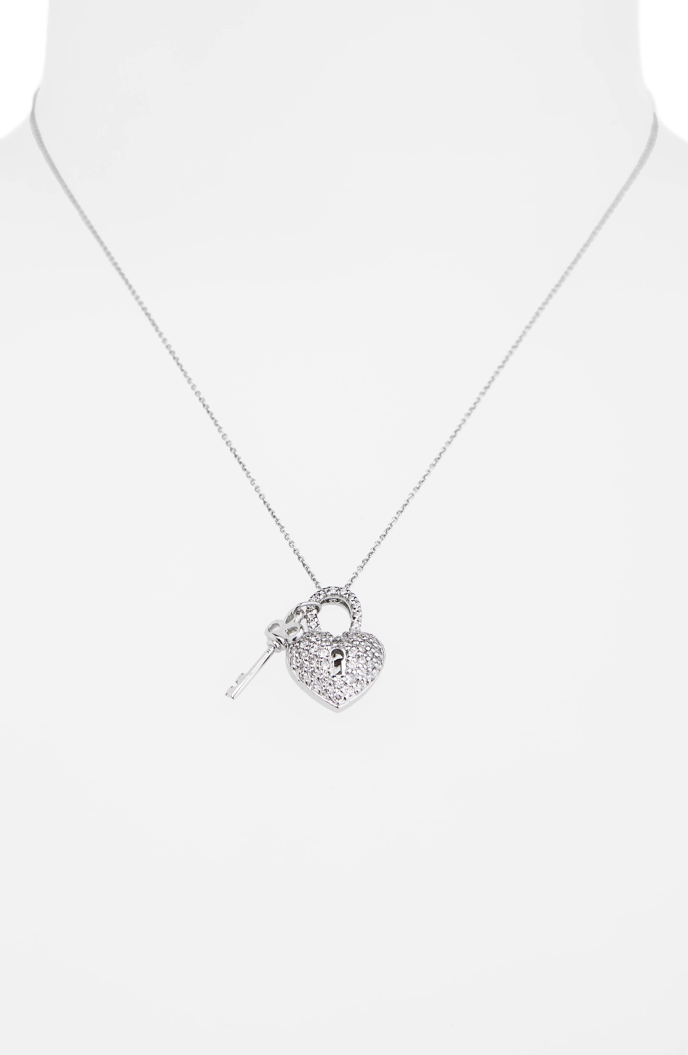 Diamond Heart Lock Pendant Necklace,                             Alternate thumbnail 2, color,                             White Gold