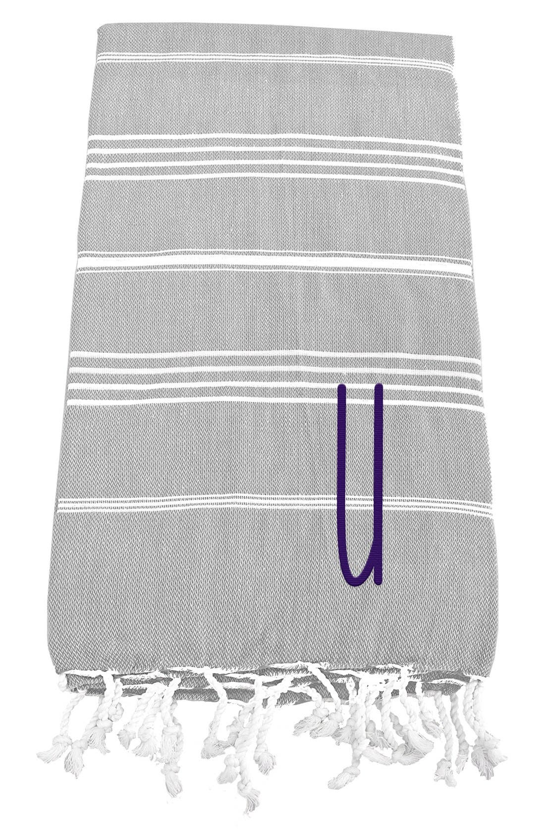 Monogram Turkish Cotton Towel,                         Main,                         color, Grey - U