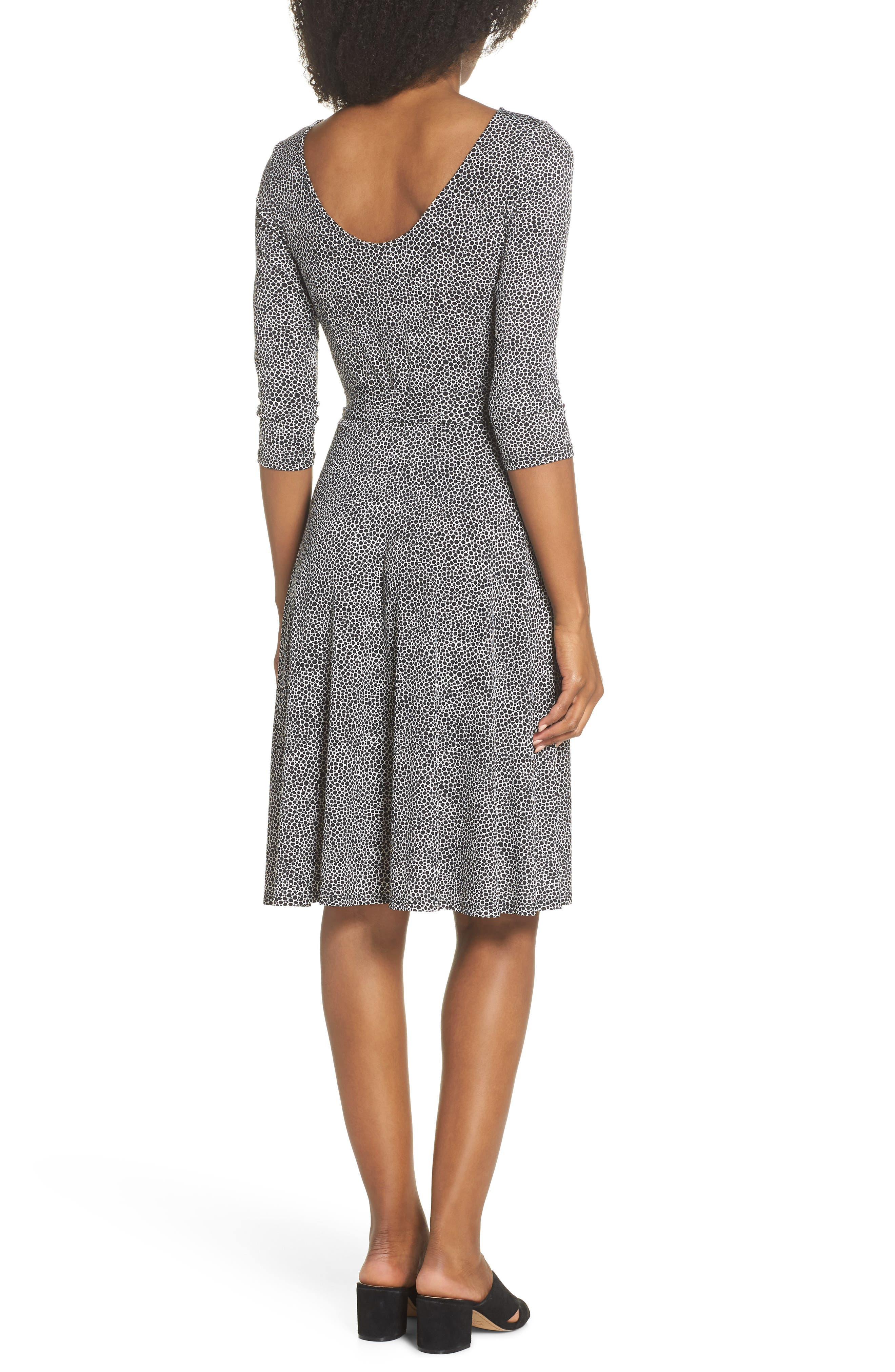 Belted Print Jersey A-Line Dress,                             Alternate thumbnail 2, color,                             Pebble