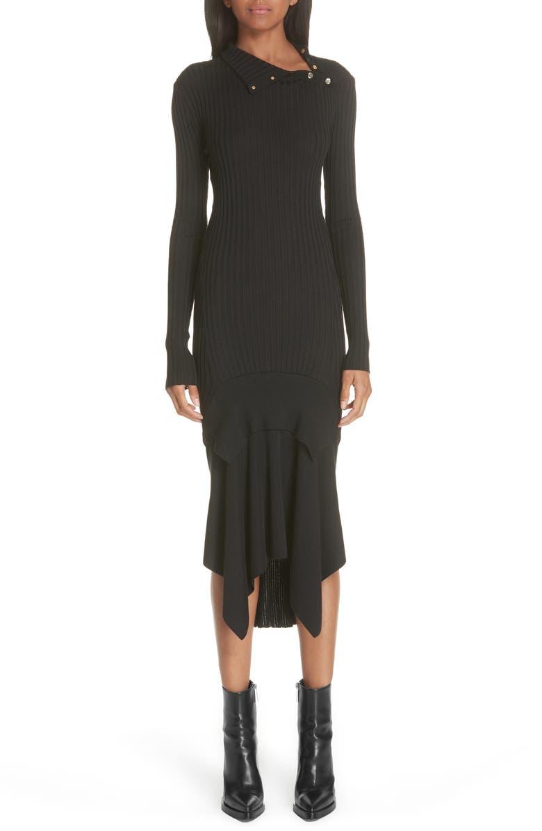 Snap Neck Rib Knit Sweater Dress