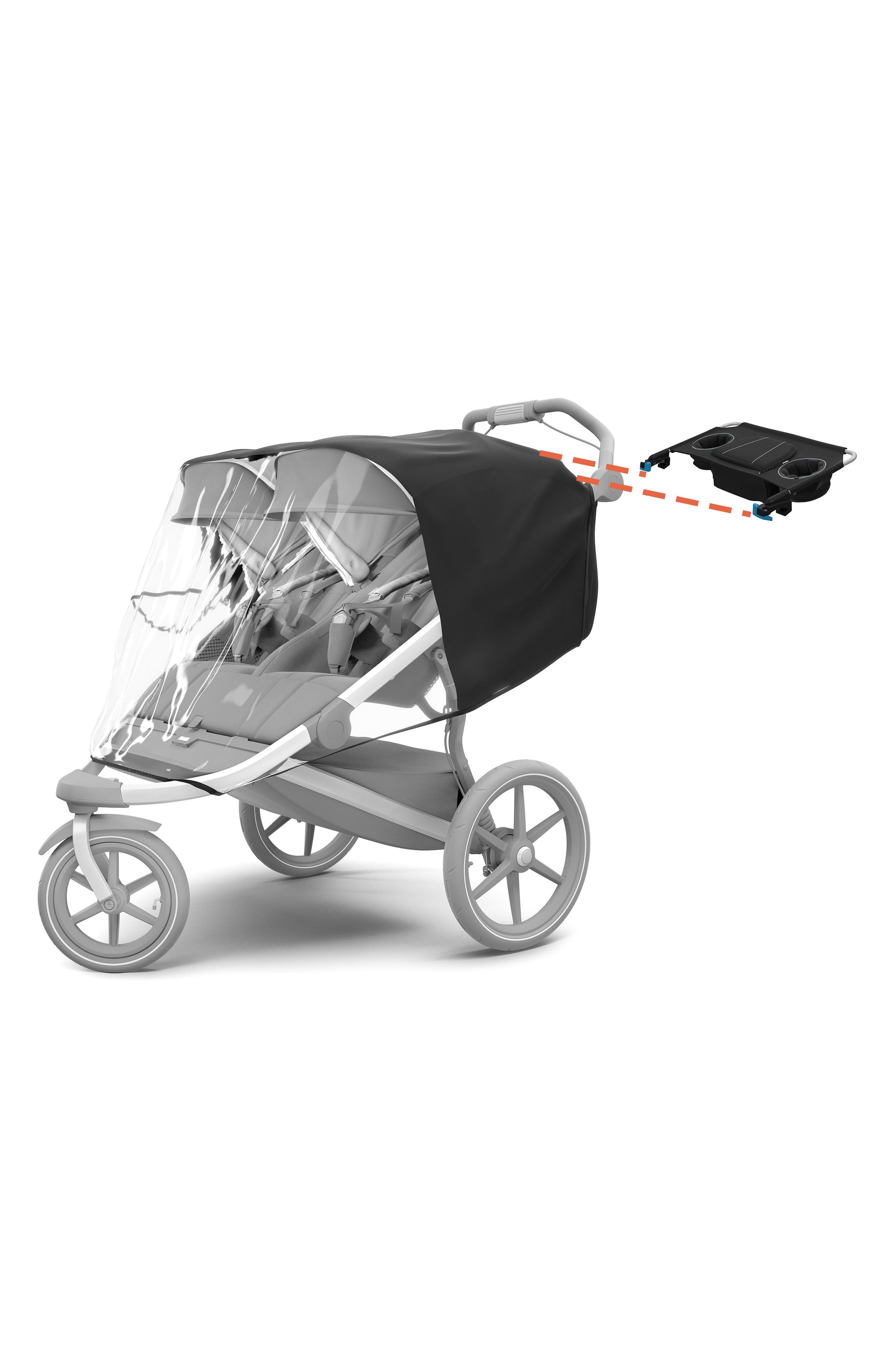Urban Glide 2 Double Jogging Stroller On-the-Go Bundle,                             Alternate thumbnail 2, color,                             Black