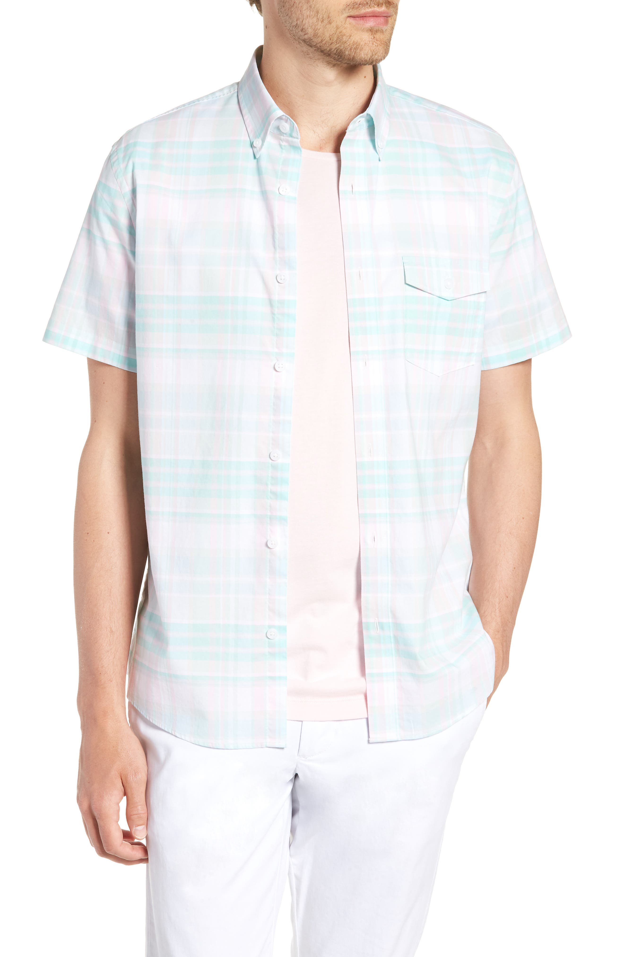 Trim Fit Plaid Short Sleeve Sport Shirt,                         Main,                         color, Green Largo Pink Plaid