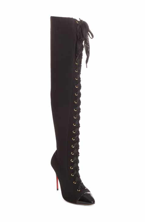 9179723418ef Christian Louboutin Frenchie Lace-Up Over the Knee Sock Boot (Women)