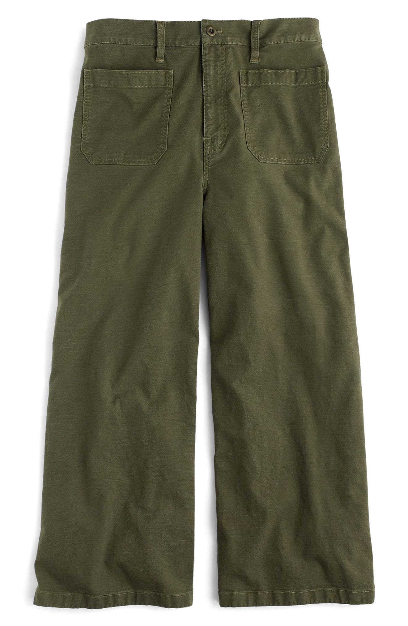 Point Sur Washed Wide Leg Crop Pants,                             Main thumbnail 1, color,                             Loden Green
