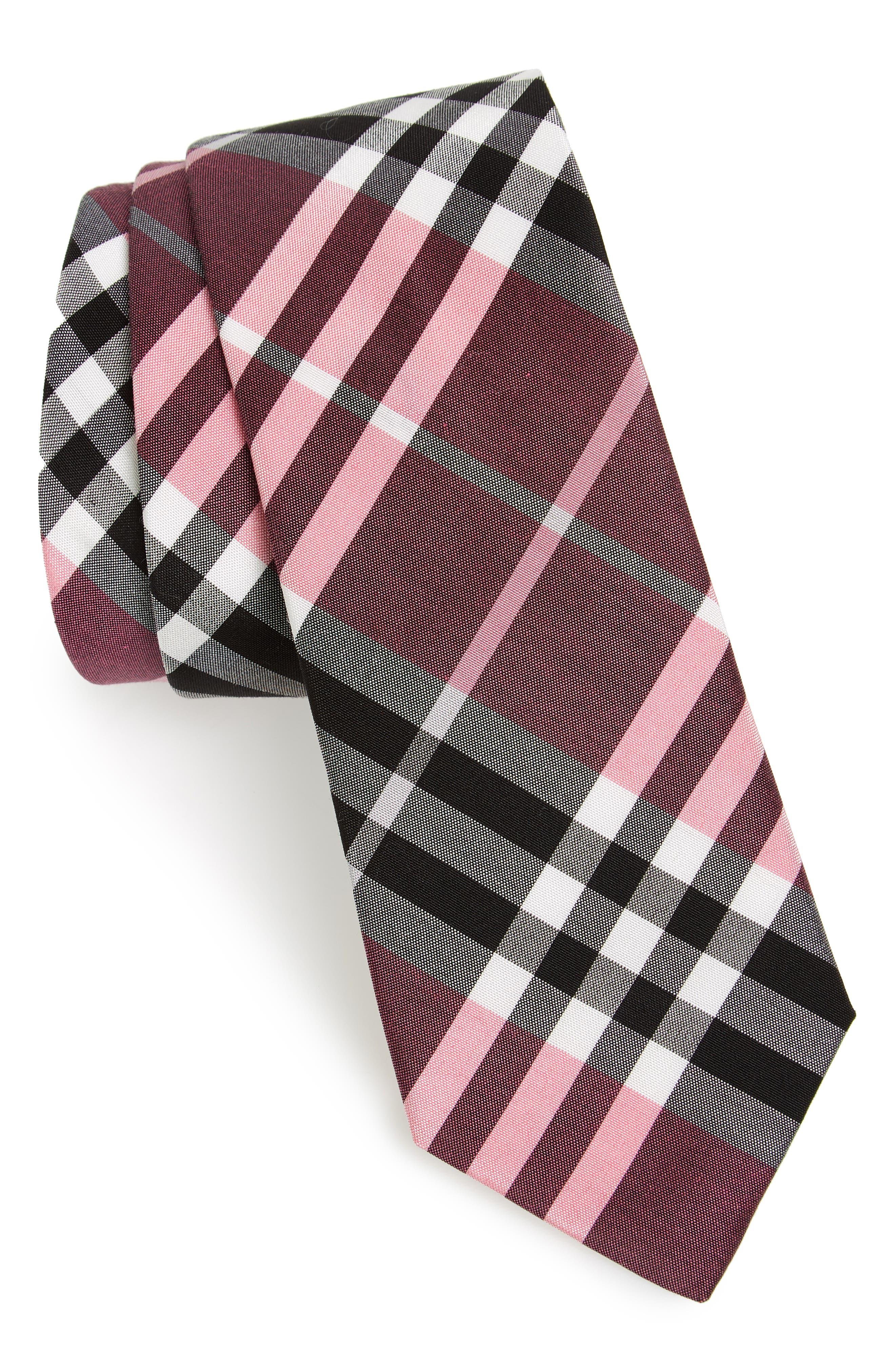 Burberry Manston Check Cotton & Silk Blend Tie