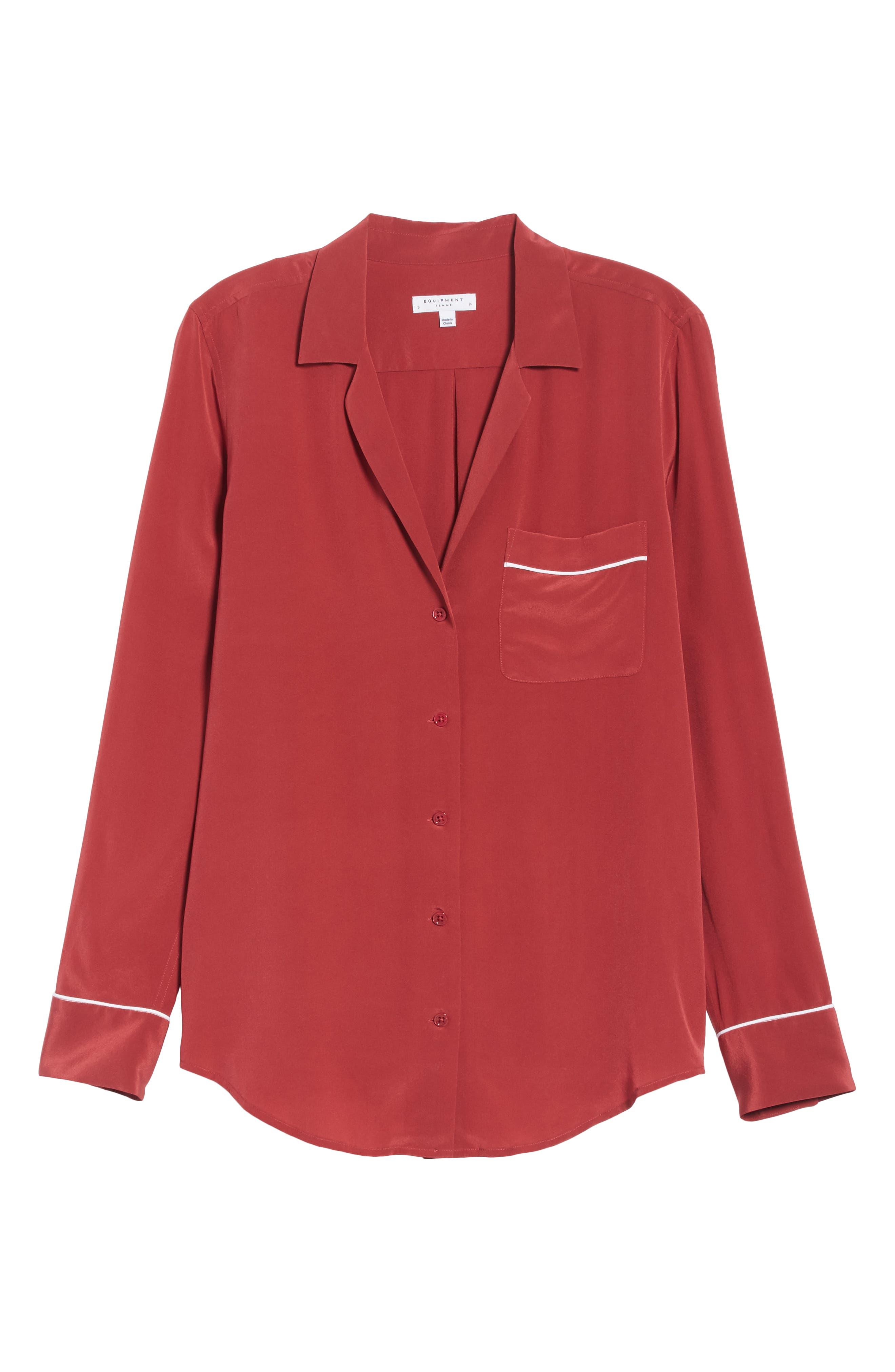 Keira Piped Silk Shirt,                             Alternate thumbnail 6, color,                             Pinot Noir