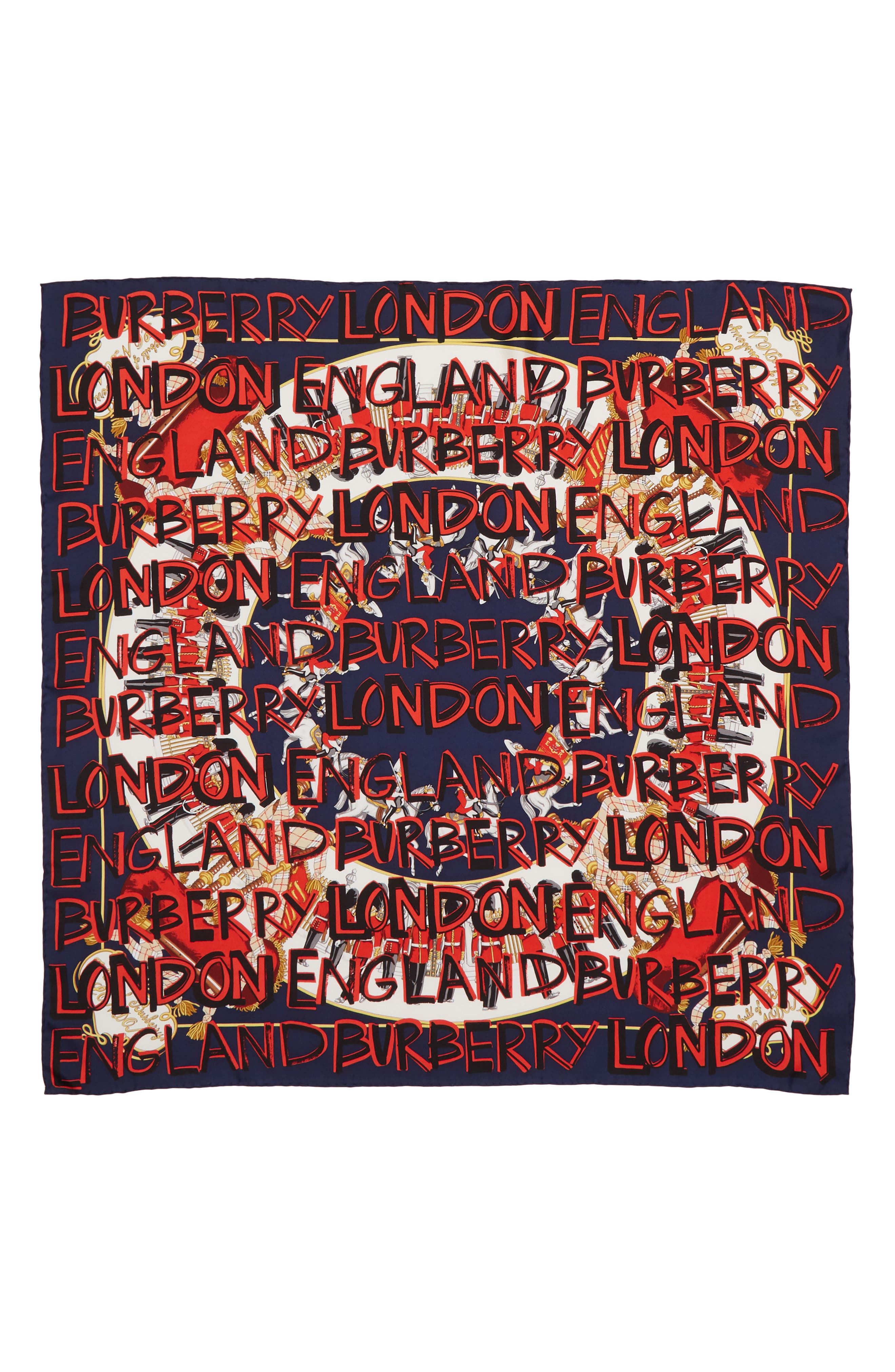 Burberry Guards Text Silk Square Scarf