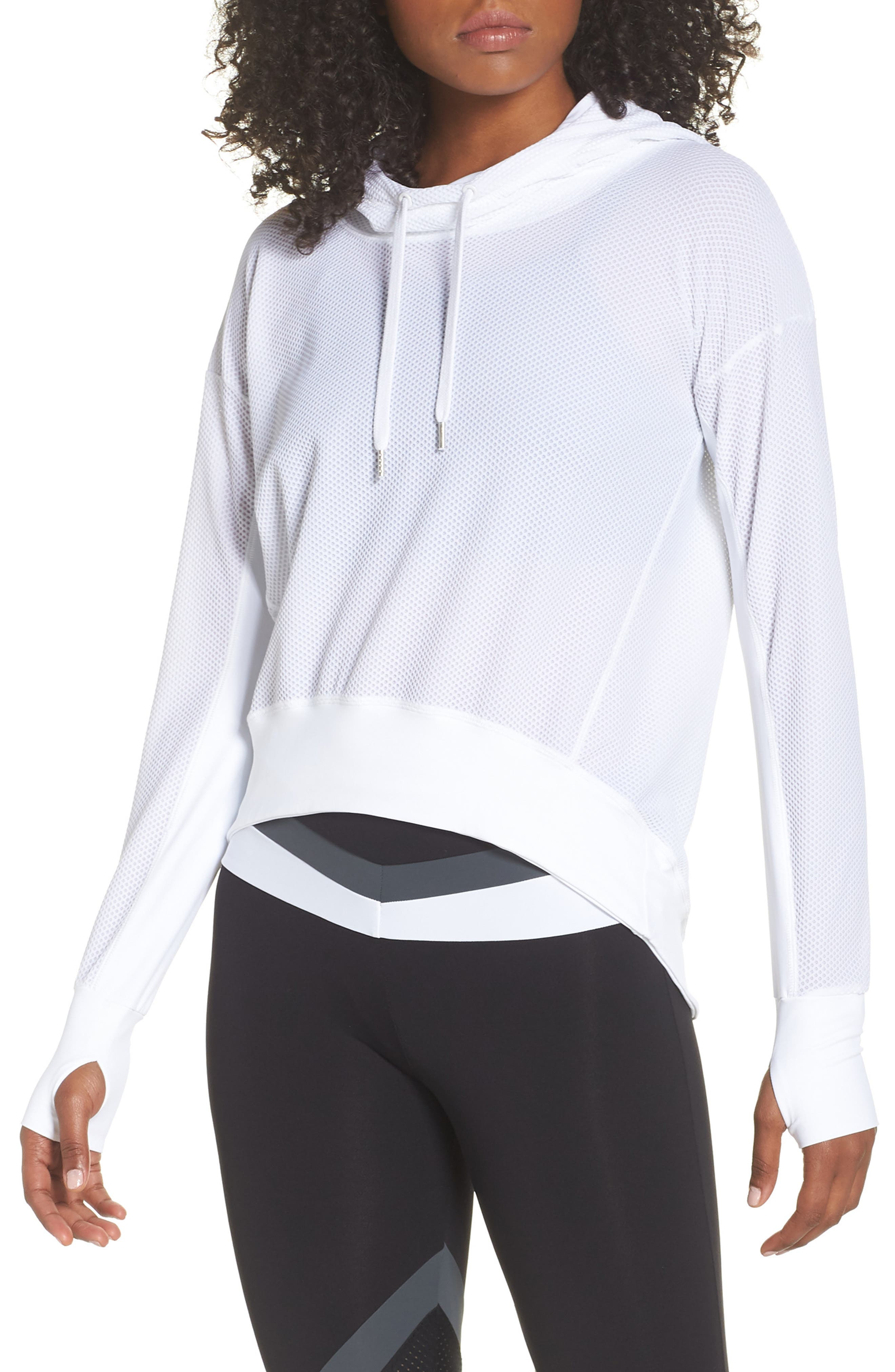 BoomBoom Athletica Bubble Mesh Hoodie,                             Main thumbnail 1, color,                             White