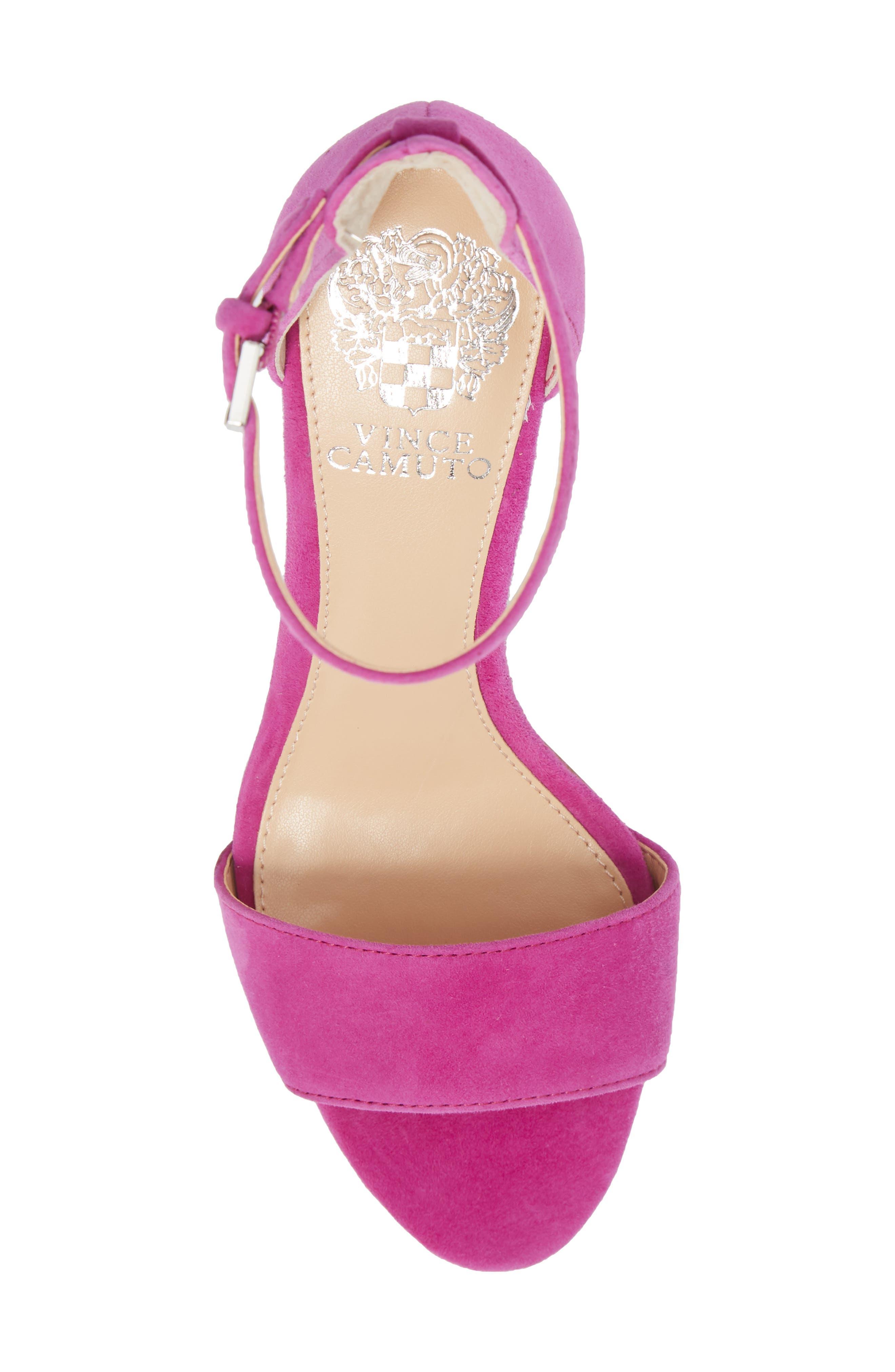 Corlina Ankle Strap Sandal,                             Alternate thumbnail 5, color,                             Drama Pink Suede