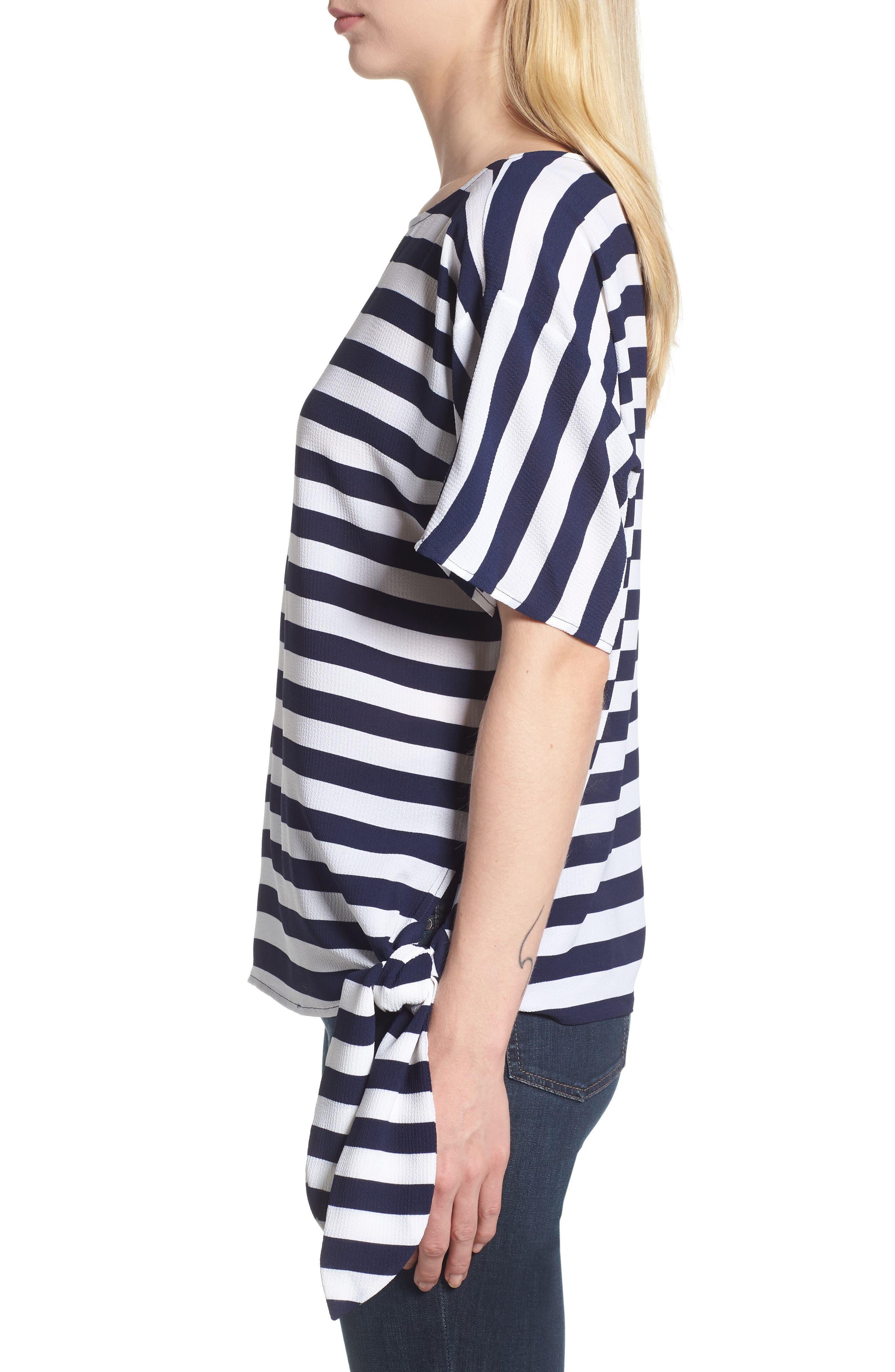 MICHAEL Michael Kors Side Tie Striped Top,                             Alternate thumbnail 3, color,                             True Navy
