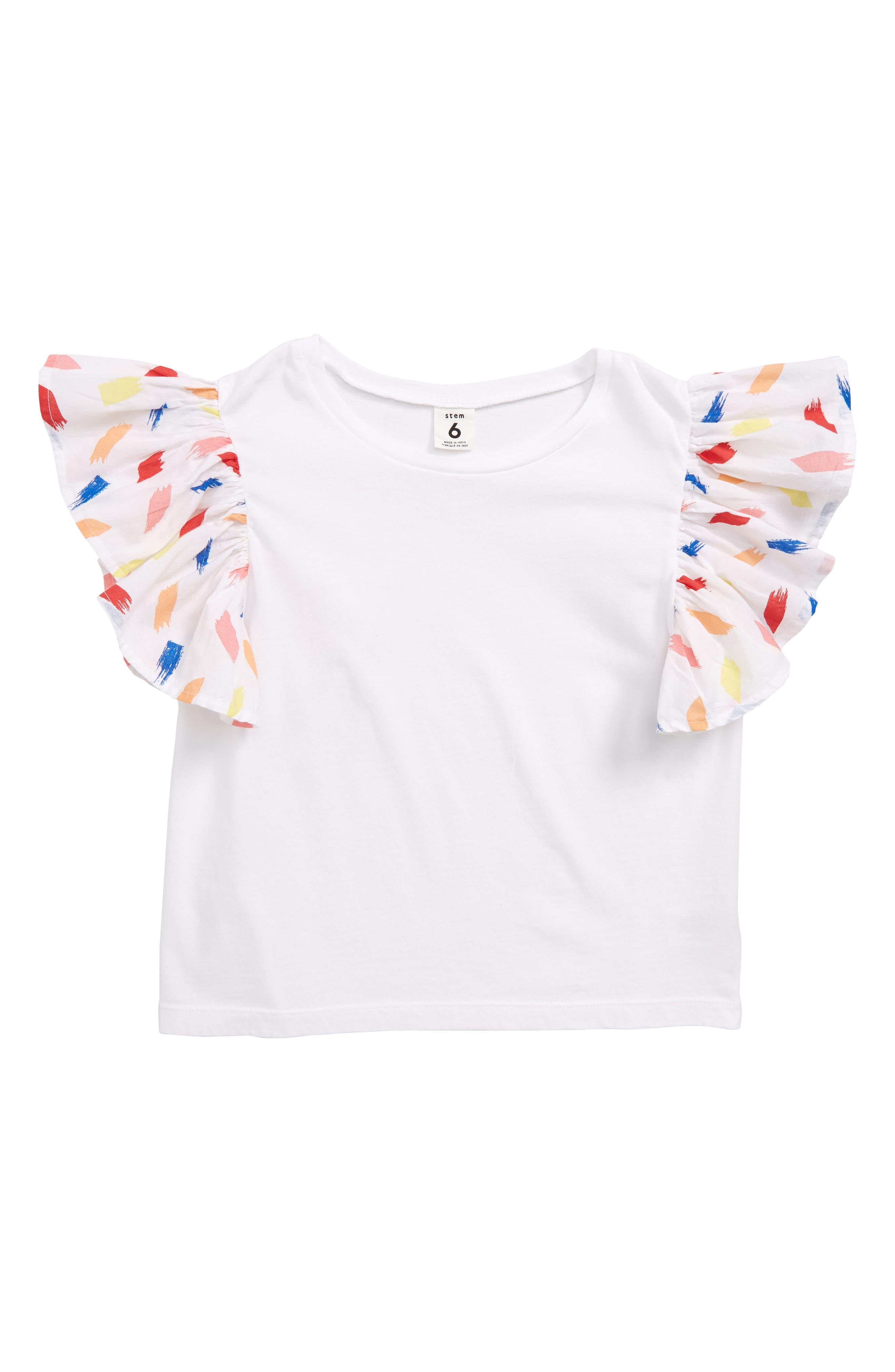 Stem Ruffle Sleeve Cotton Tee (Toddler Girls, Little Girls & Big Girls)
