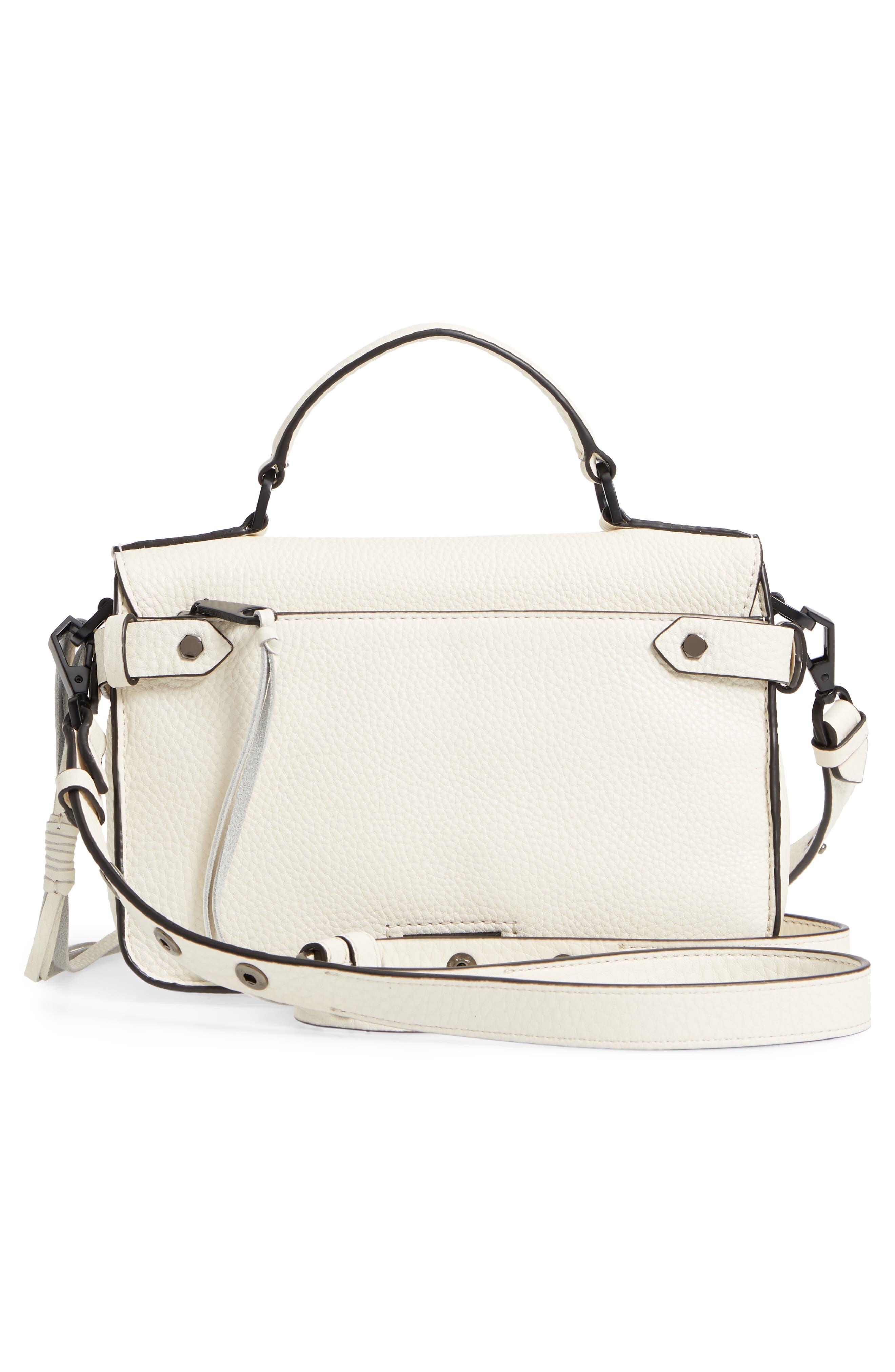 'Small Darren' Leather Messenger Bag,                             Alternate thumbnail 3, color,                             Antique White