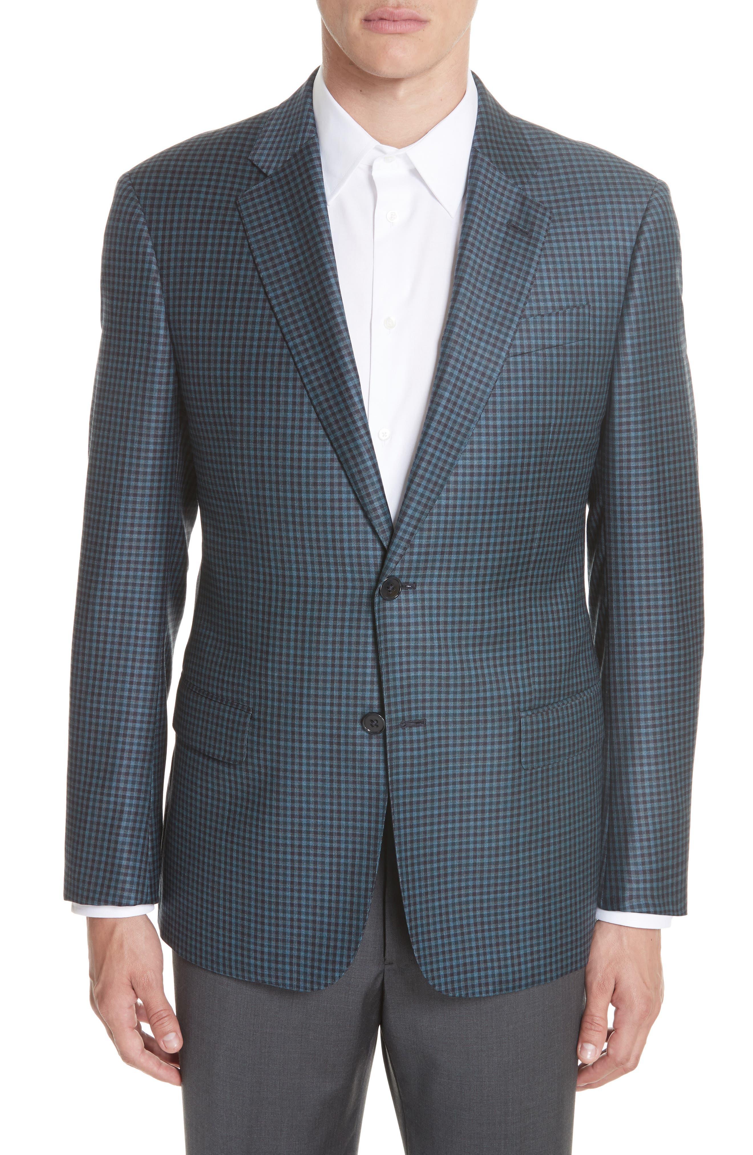 Emporio Armani G Line Trim Fit Check Wool Sport Coat