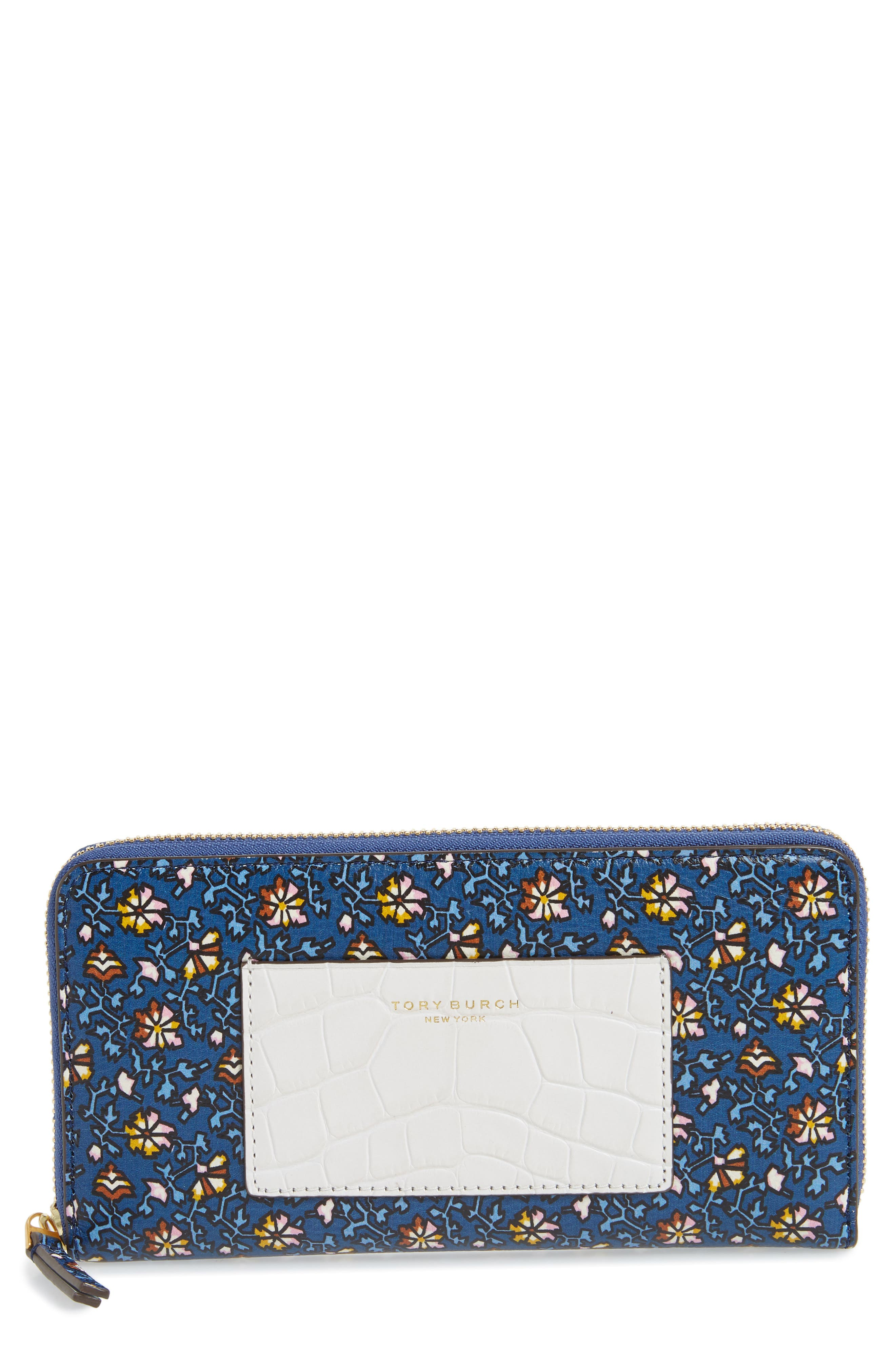 Floral Print Leather Zip Around Wallet,                             Main thumbnail 1, color,                             Blue Wild Pansy