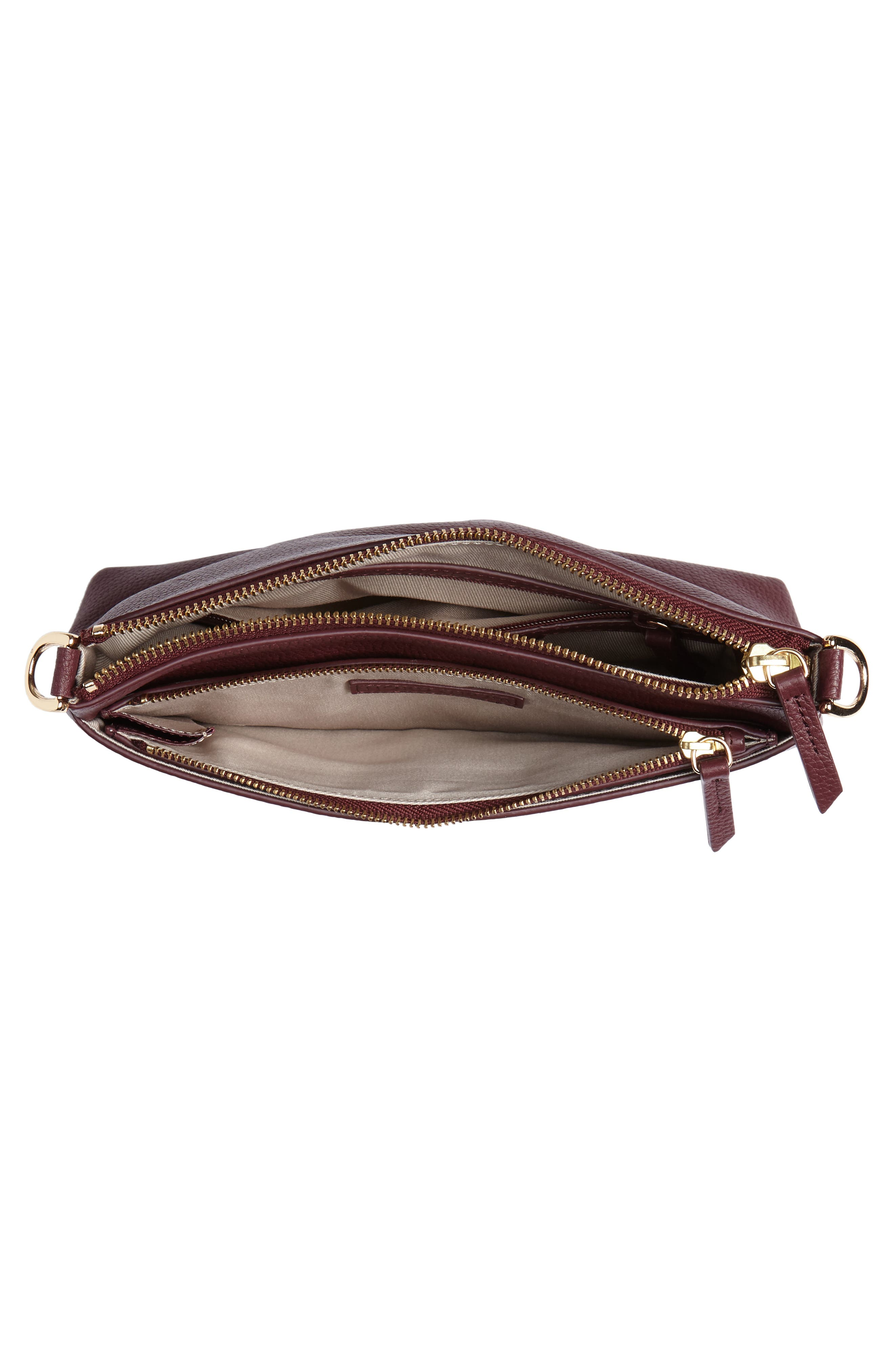 Brixton Convertible Leather Crossbody Bag with Pop-Out Card Holder,                             Alternate thumbnail 5, color,                             Burgundy London