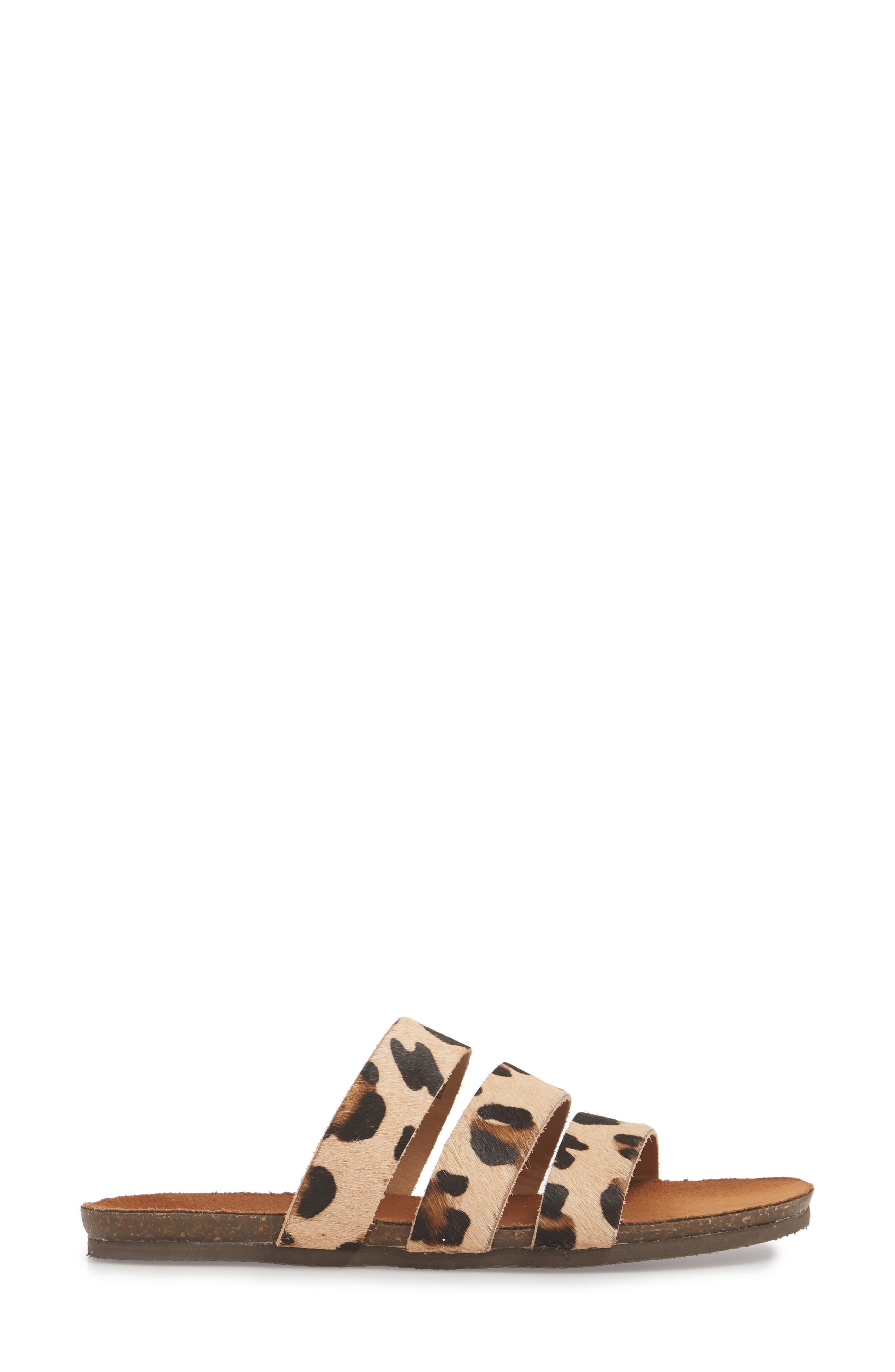 Florence Slide Sandal,                             Alternate thumbnail 3, color,                             Leopard Calf Hair