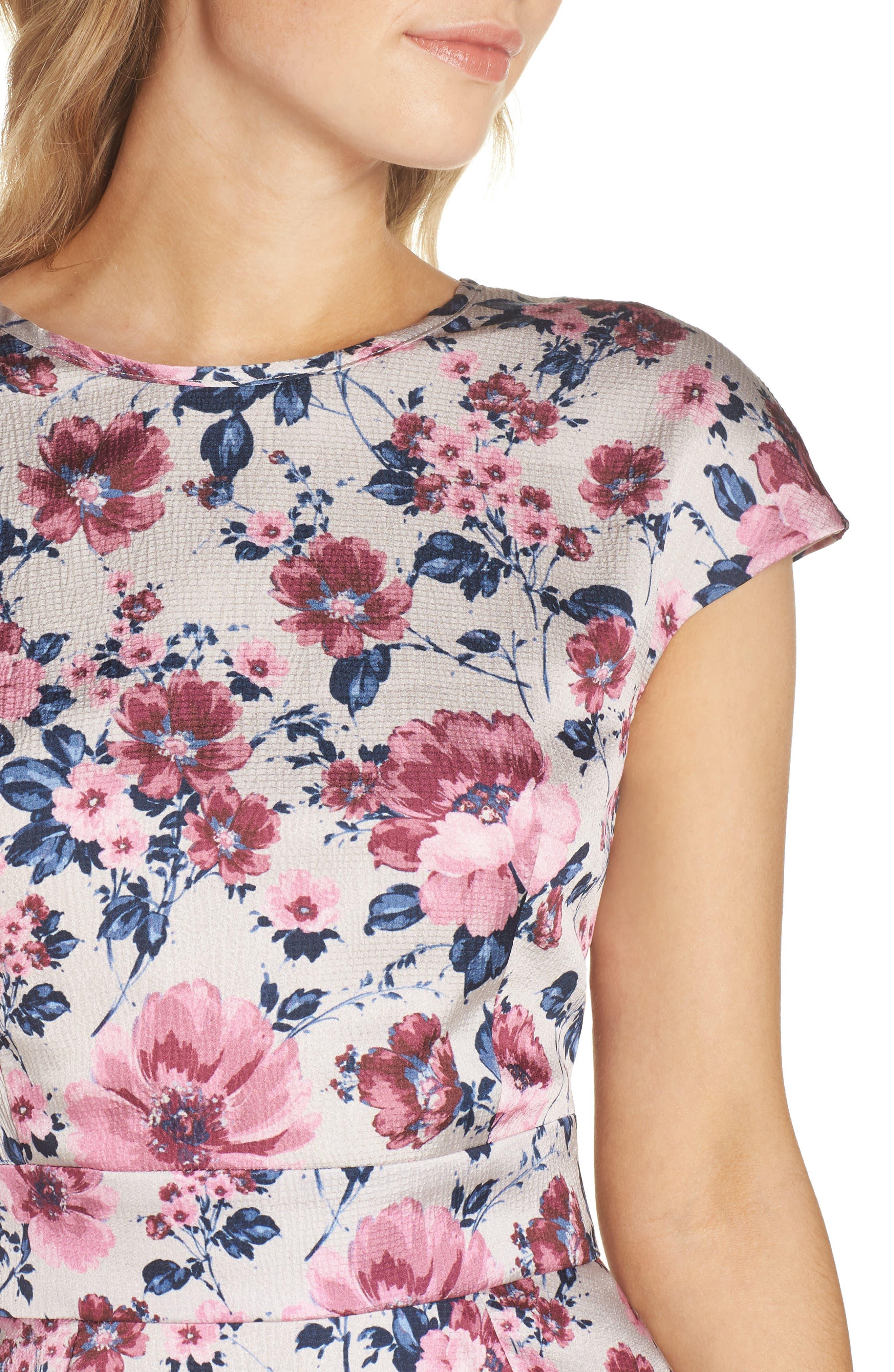 Julia Seersucker Midi Dress,                             Alternate thumbnail 6, color,                             Beige/ Pink