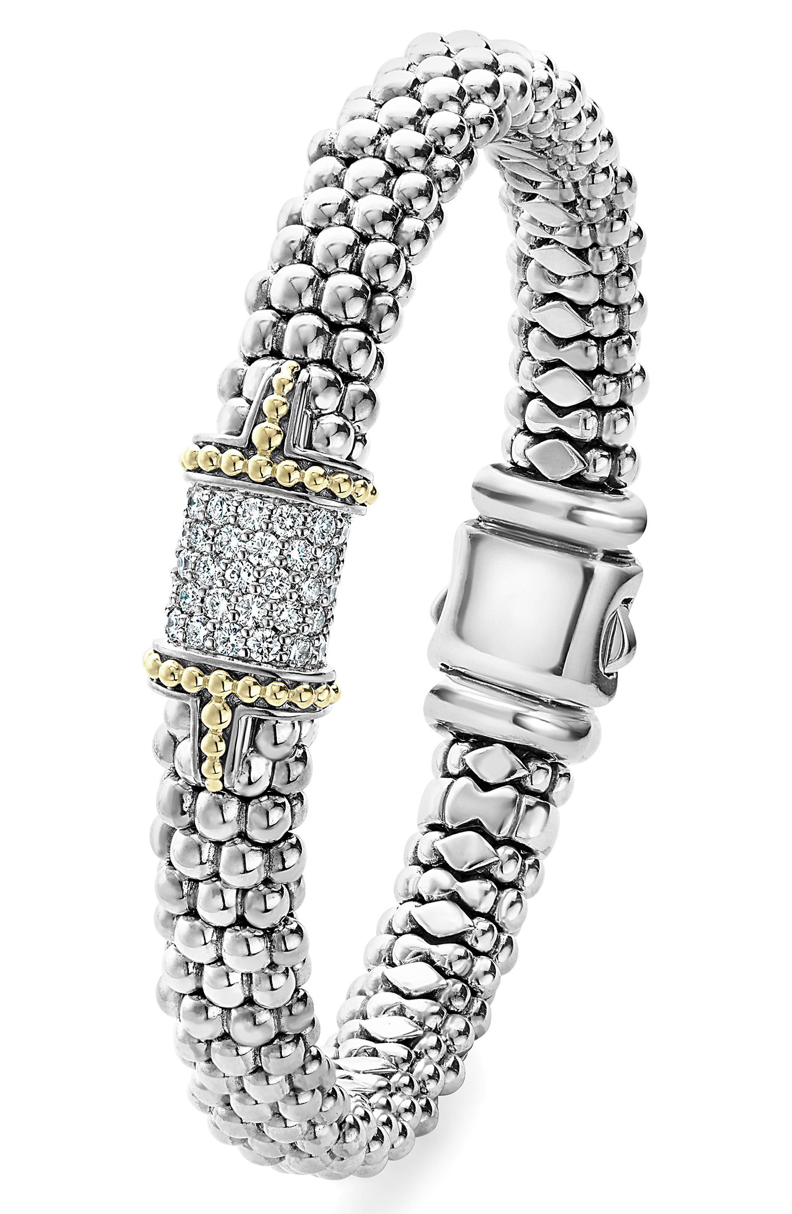 Diamond & Caviar Square Bracelet,                             Alternate thumbnail 2, color,                             Silver
