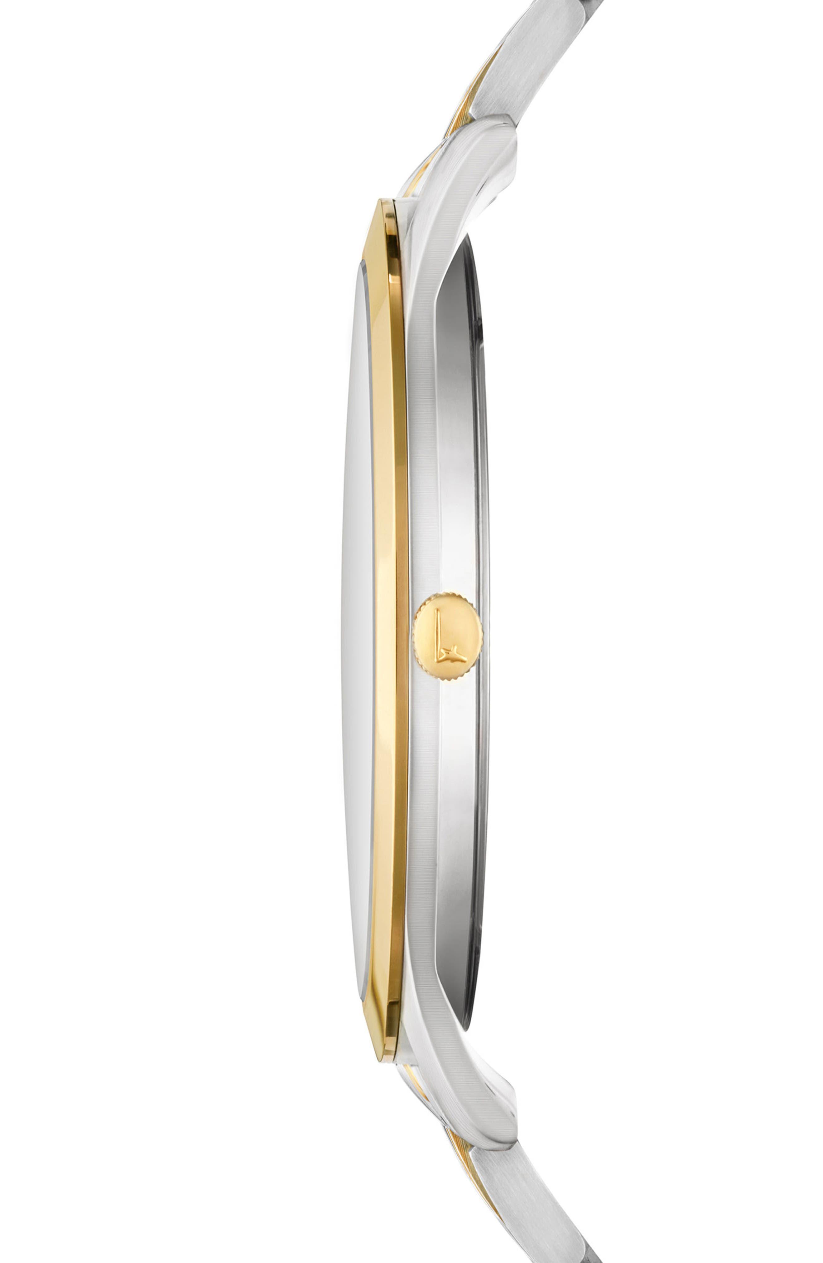 Slim Formal Bracelet Watch, 40mm,                             Alternate thumbnail 3, color,                             Silver/ Gold