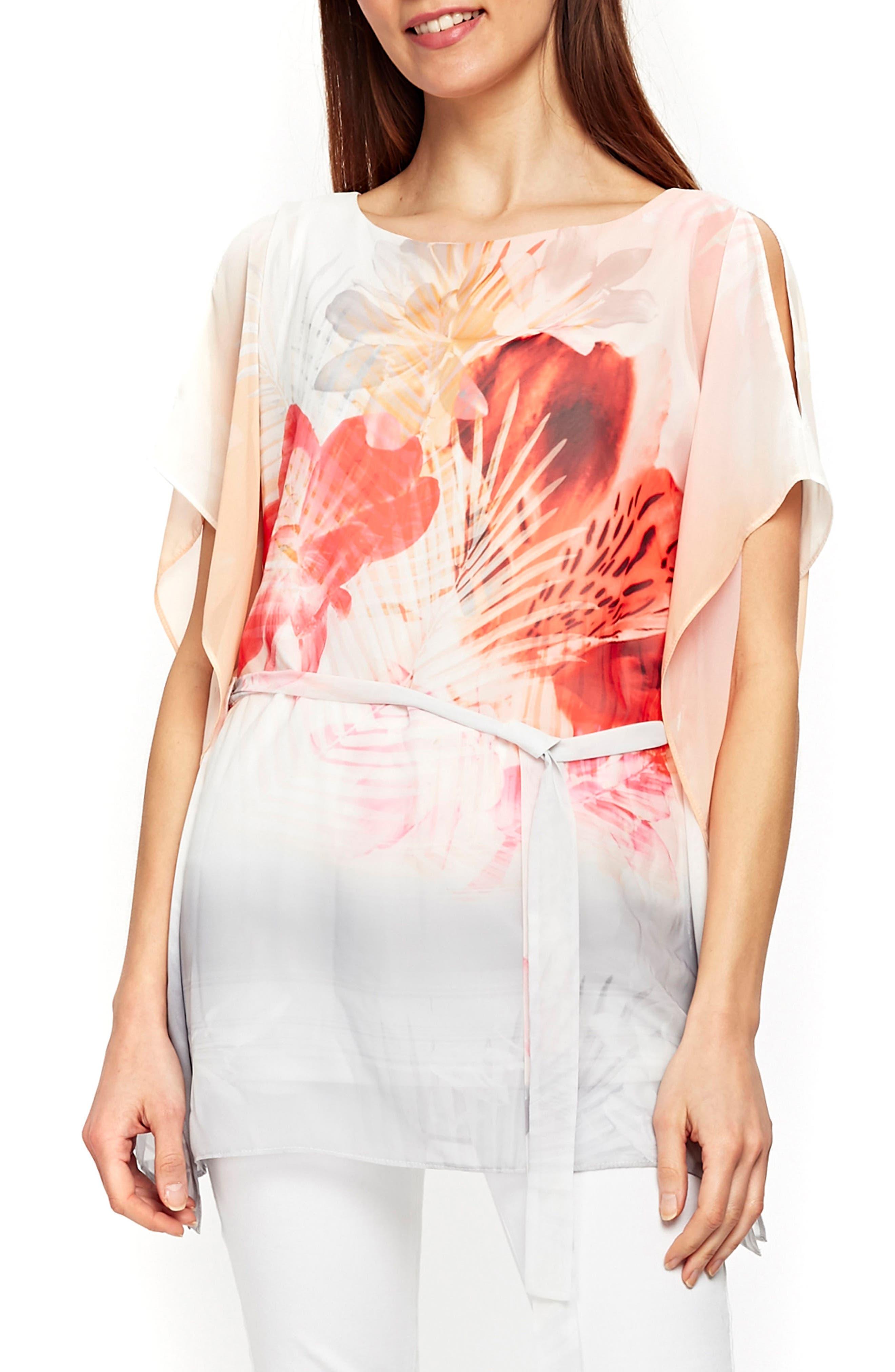 Palm Sunrise Slit Sleeve Belted Top,                         Main,                         color, Blush