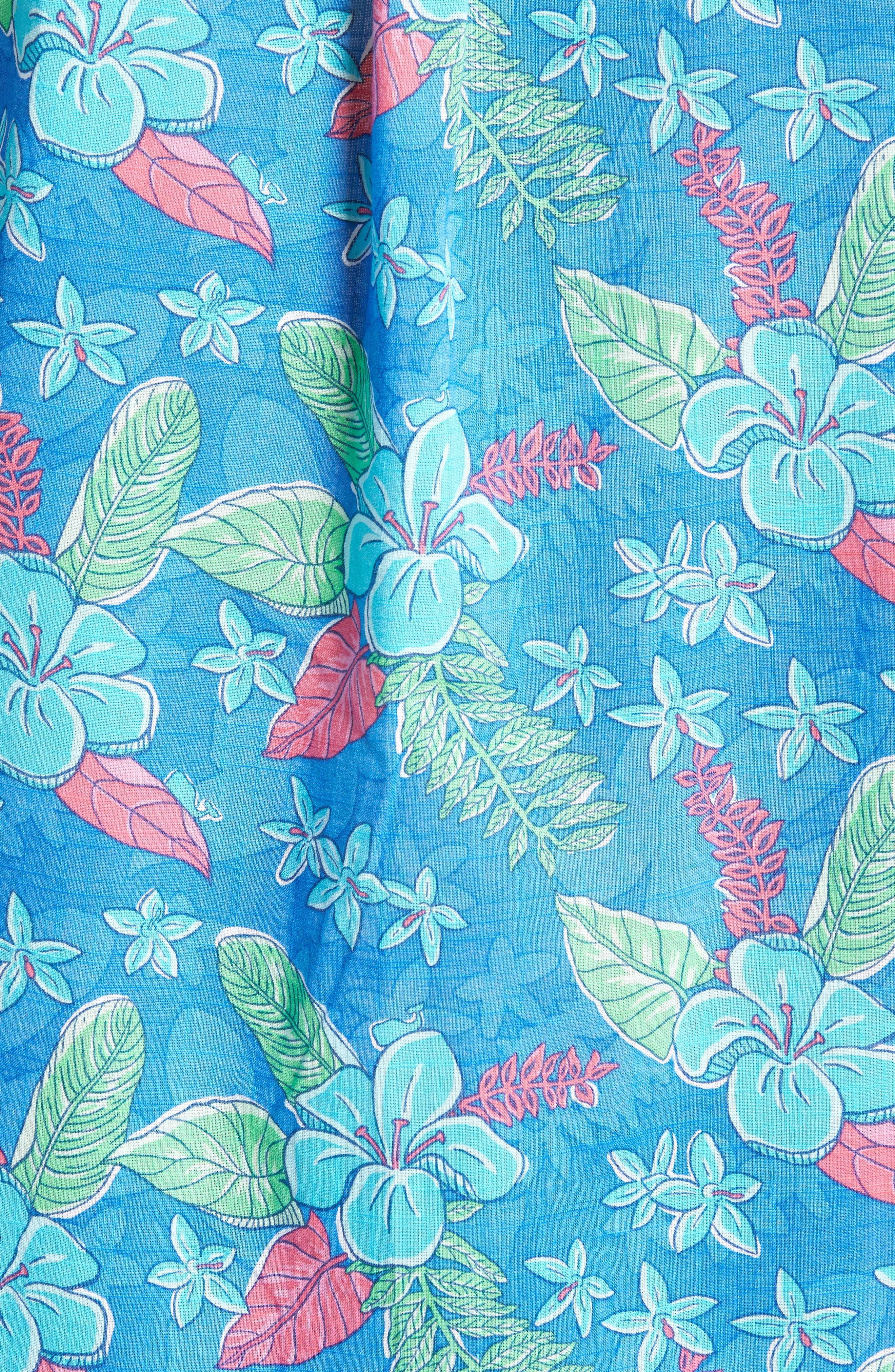 Cay Tucker Classic Fit Floral Sport Shirt,                             Alternate thumbnail 5, color,                             Hull Blue