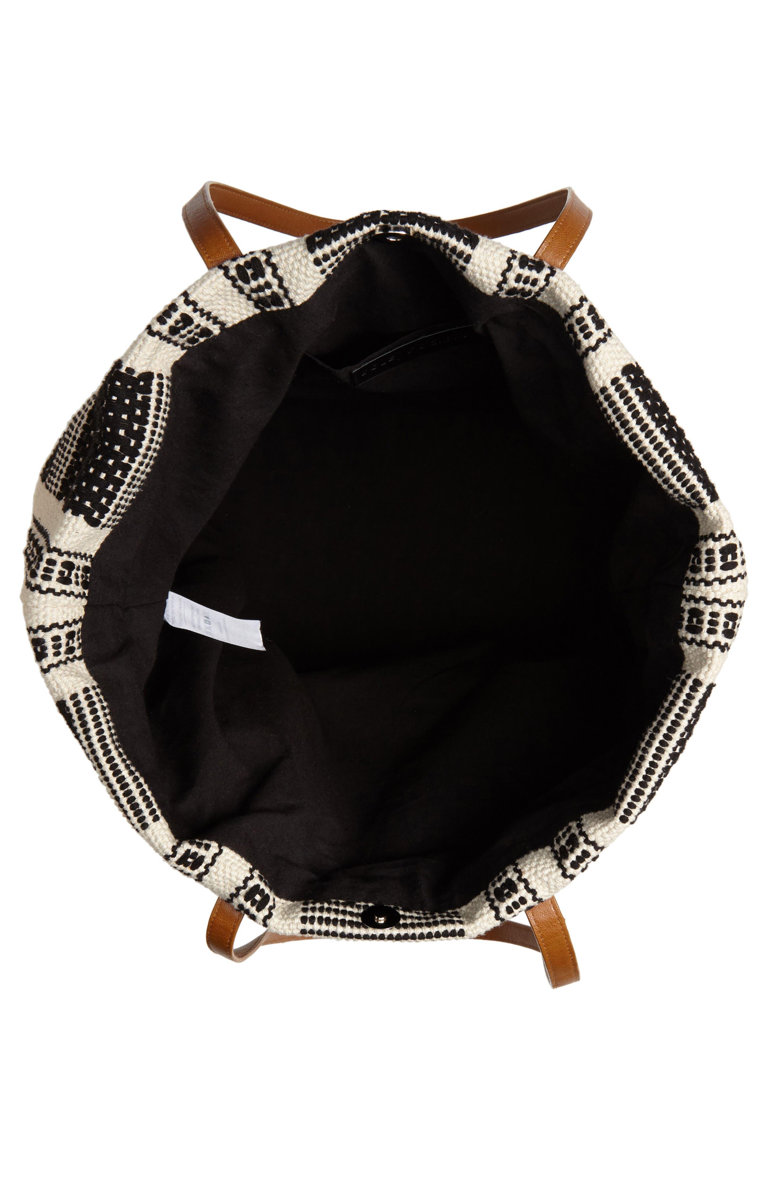 Oversized Fabric Tote,                             Alternate thumbnail 4, color,                             Black/ White