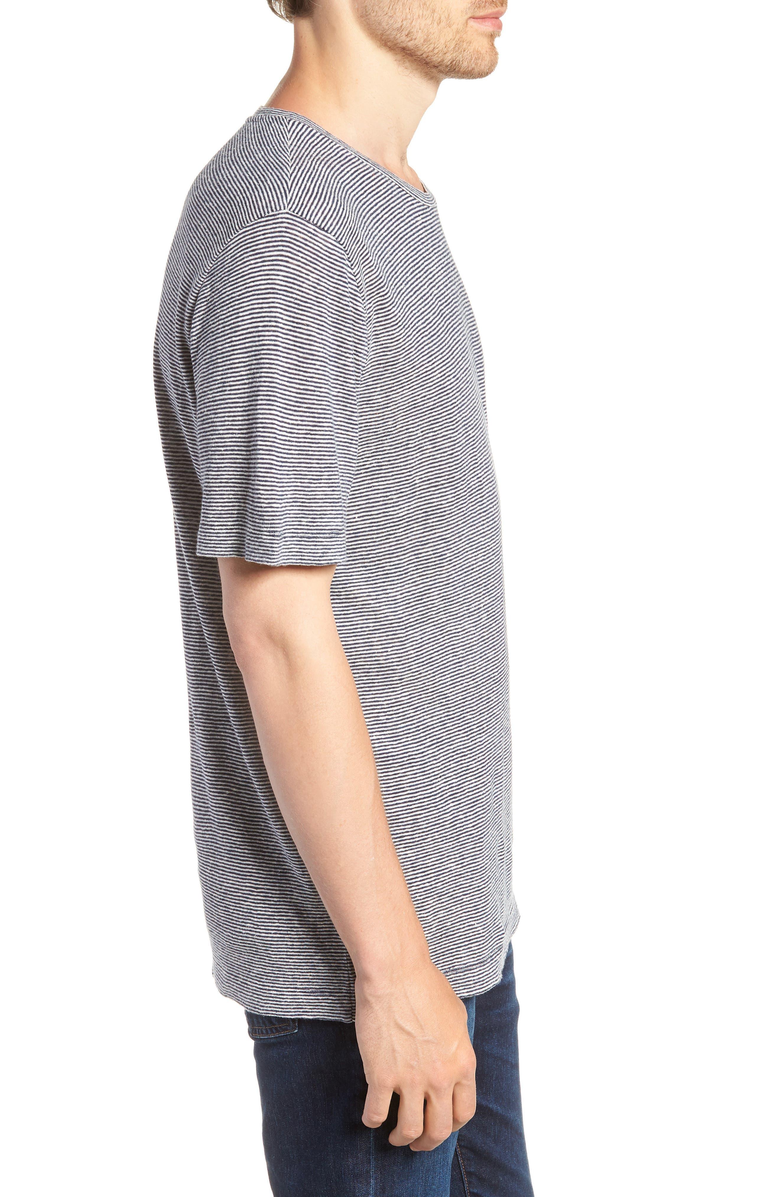 Feeder Stripe Linen Blend Jersey T-Shirt,                             Alternate thumbnail 3, color,                             Navy Iris White Stripe