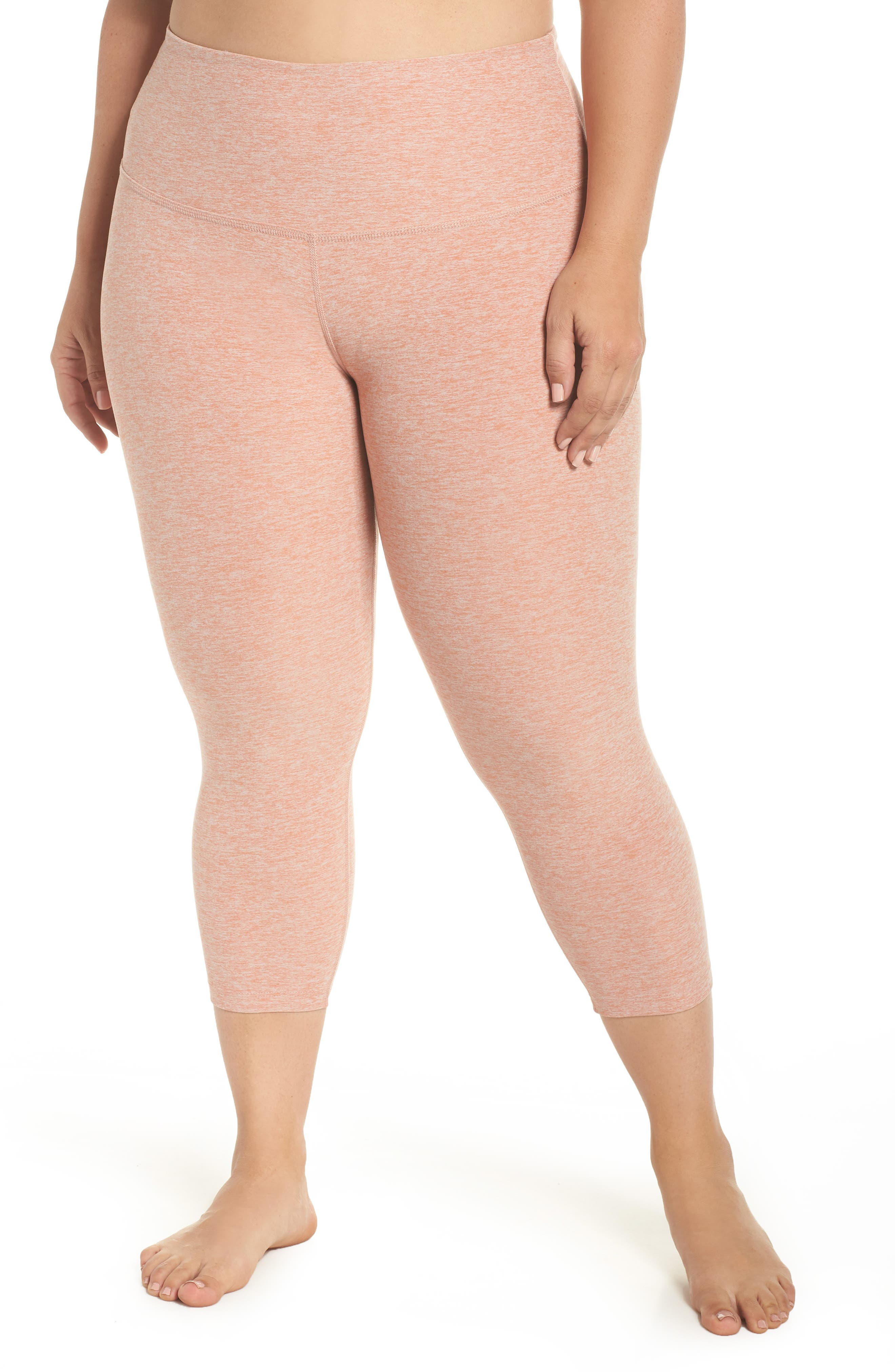 Walk & Talk Space Dye High Waist Leggings,                             Main thumbnail 1, color,                             Rain Wash-Pink Shell