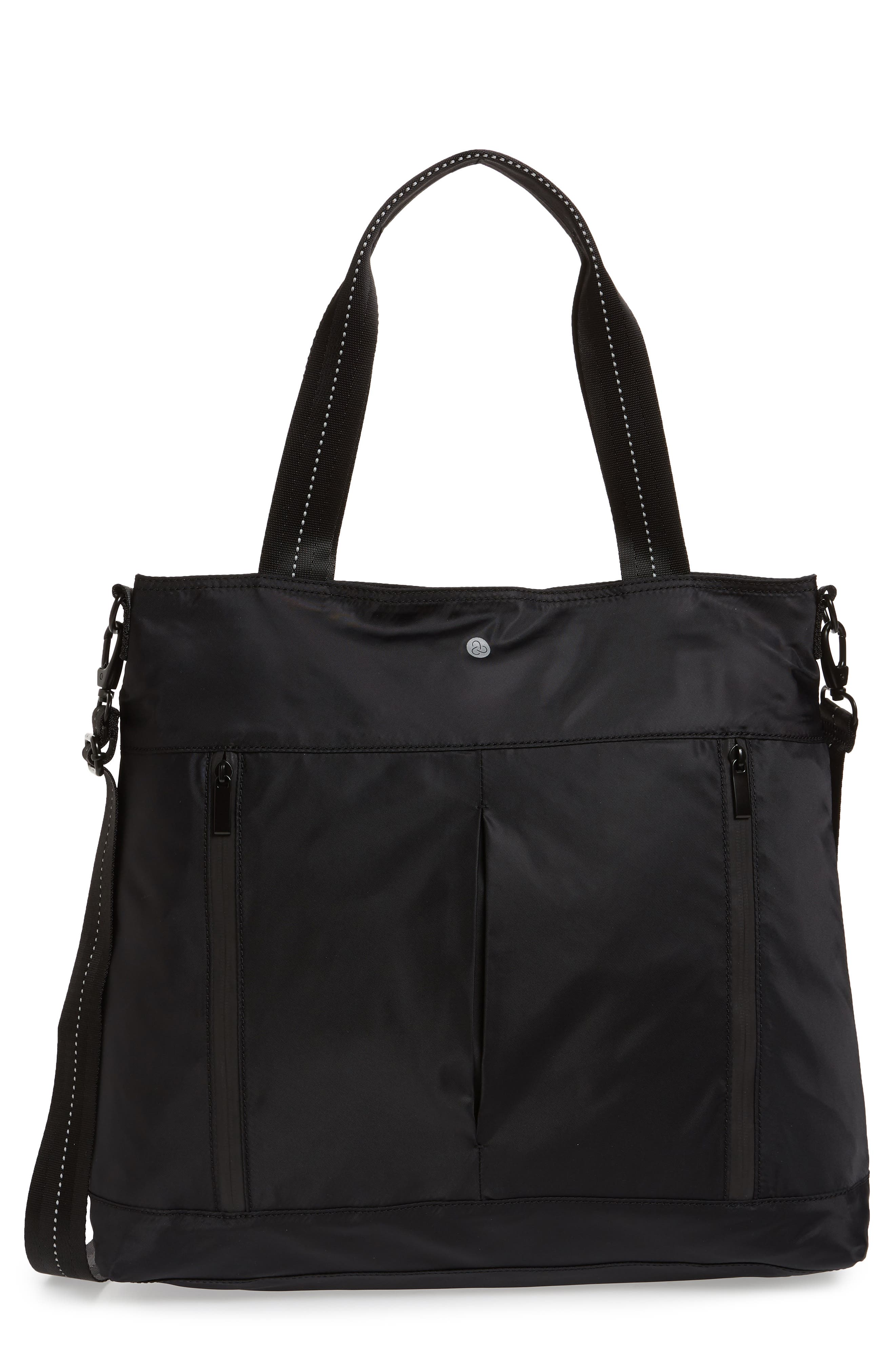 Reflective Nylon Tote Bag,                             Main thumbnail 1, color,                             Black