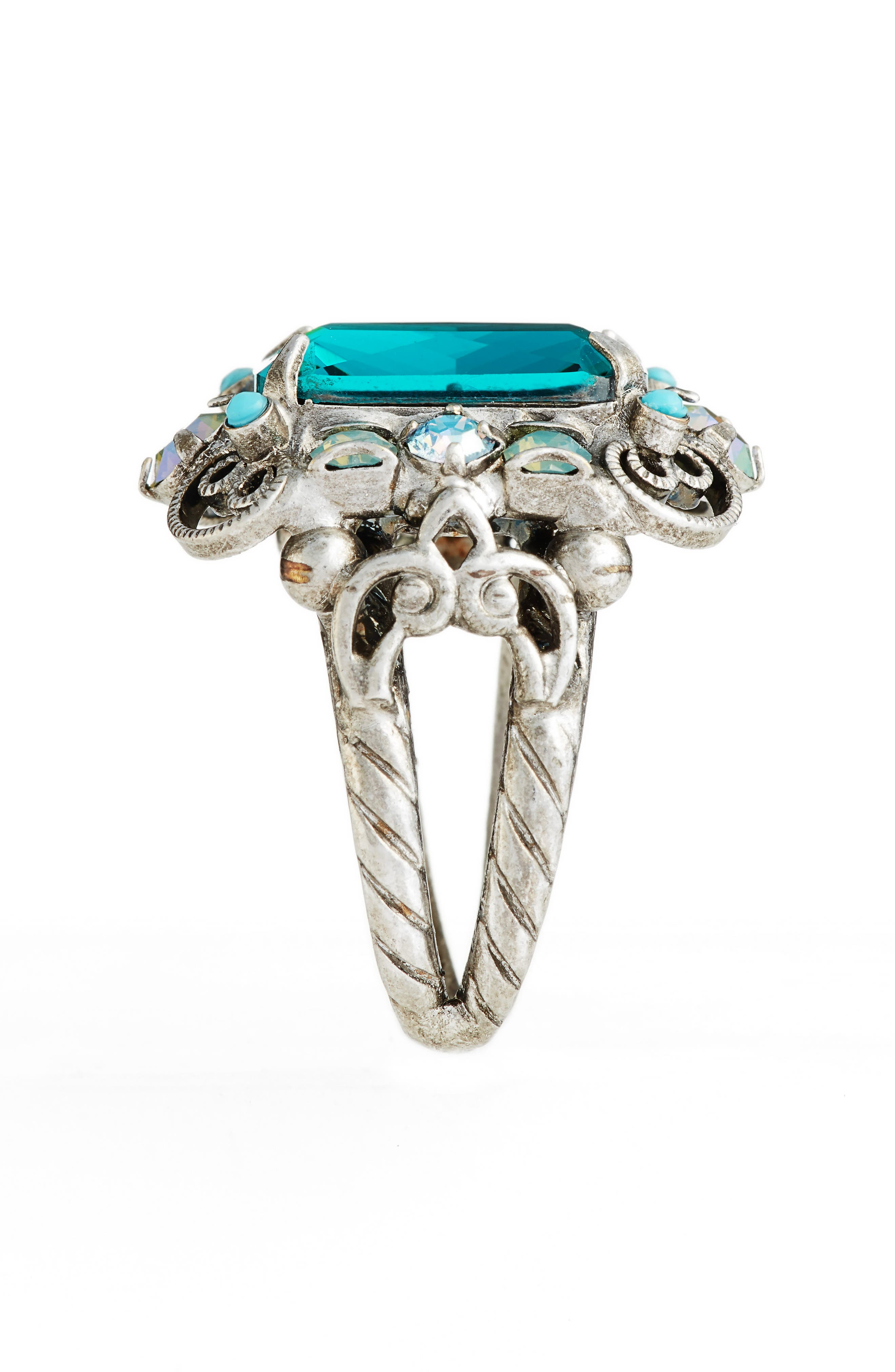 Sugar Maple Crystal Cocktail Ring,                             Alternate thumbnail 2, color,                             Blue-Green
