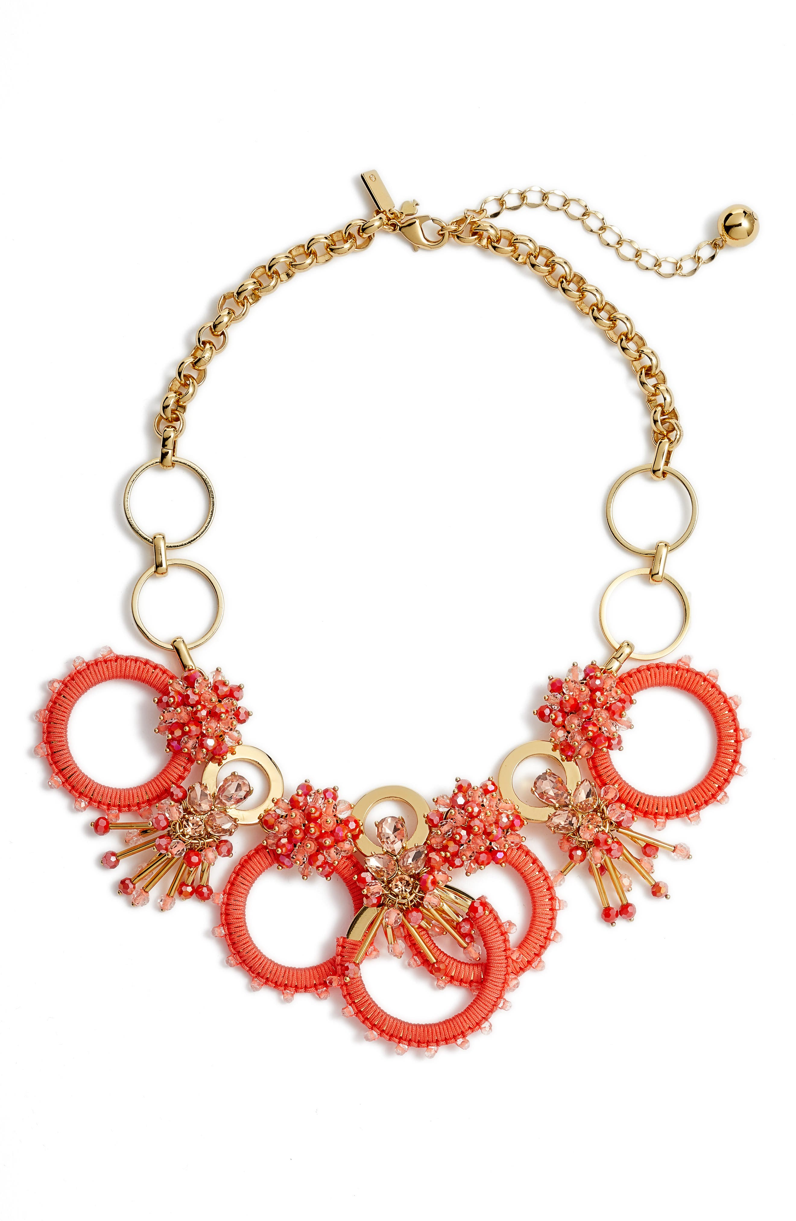 wrap it up statement necklace,                         Main,                         color, Coral Multi