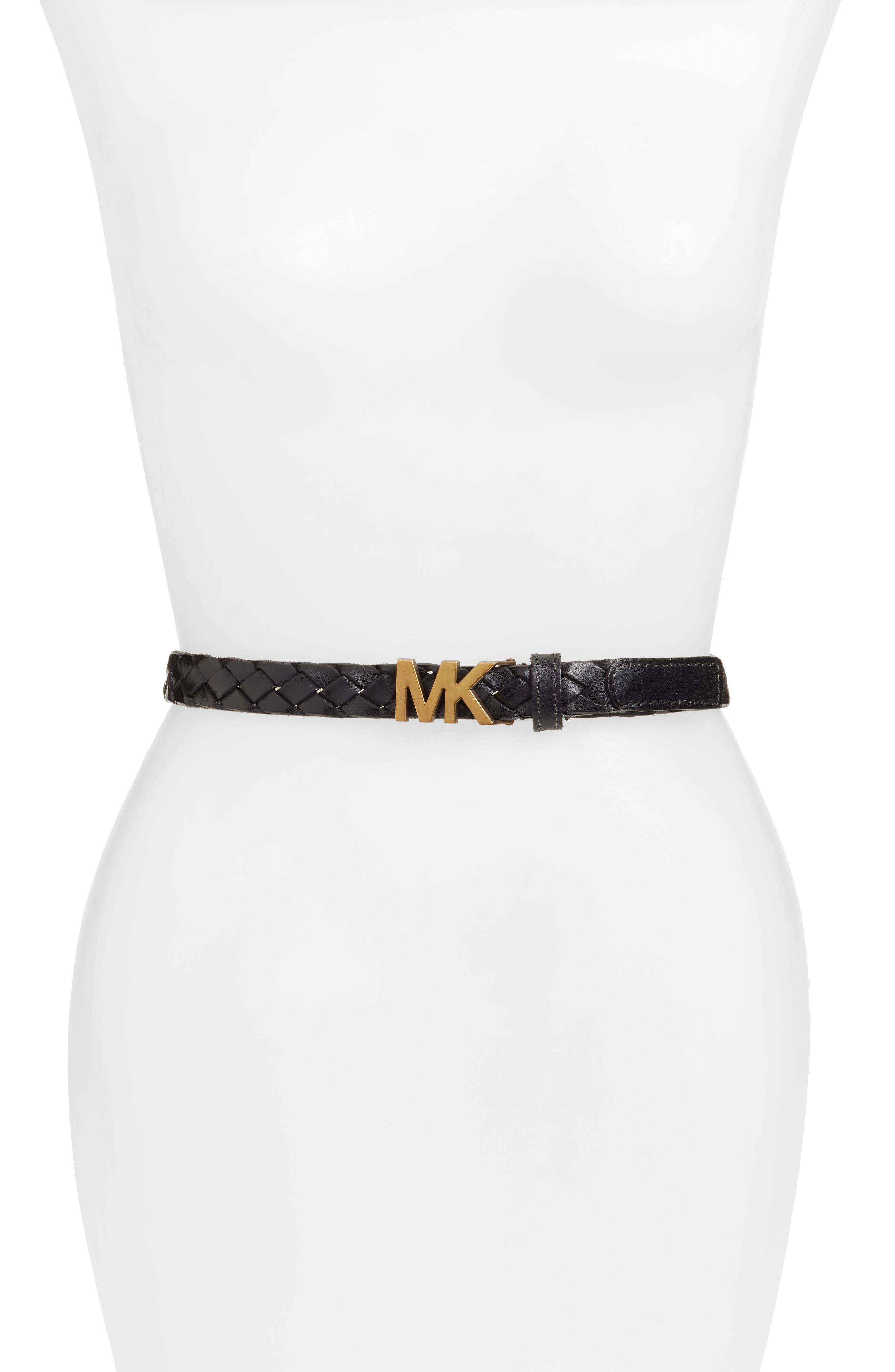 Braided Leather Belt in Black