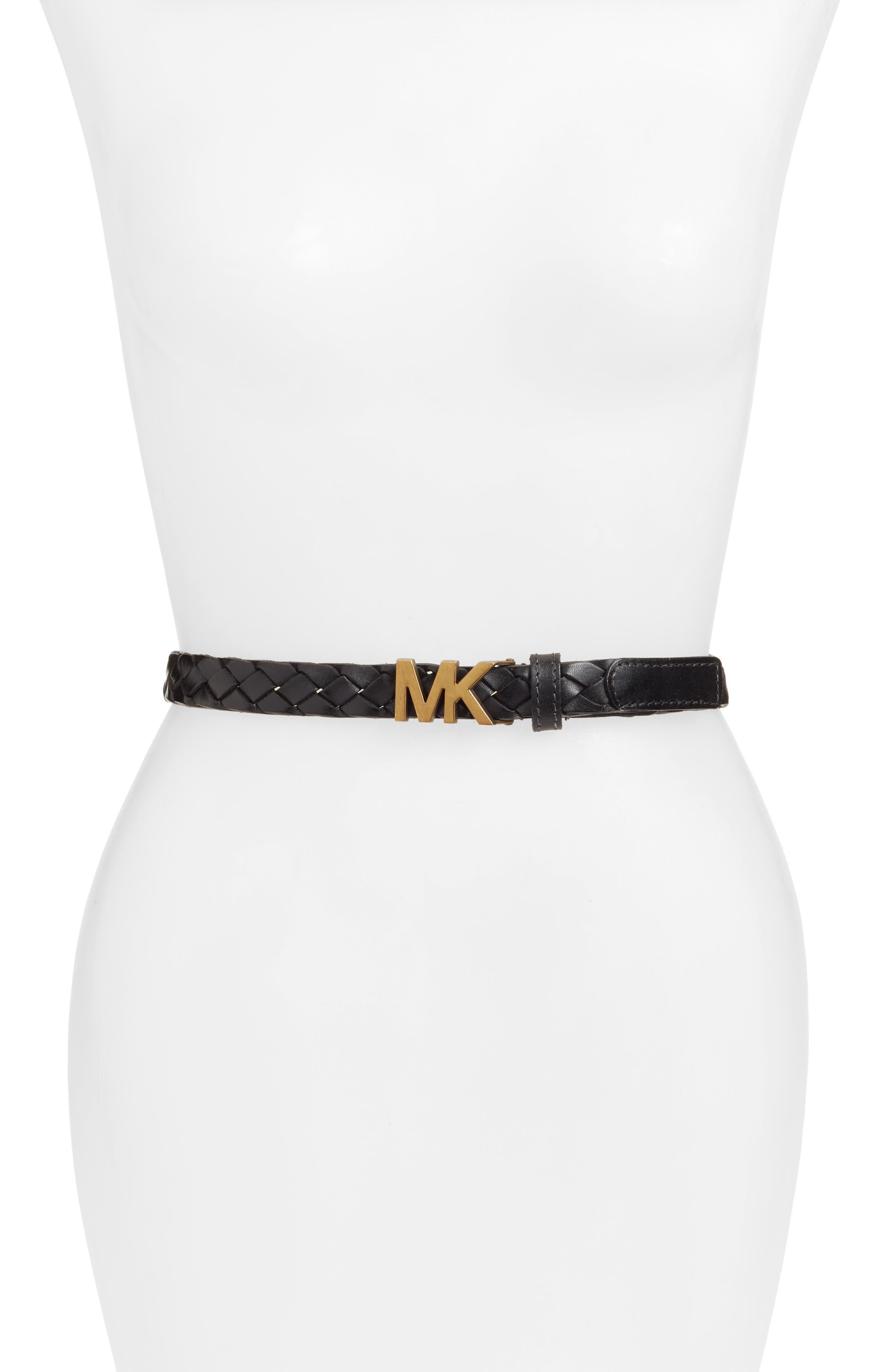 Braided Leather Belt, Black