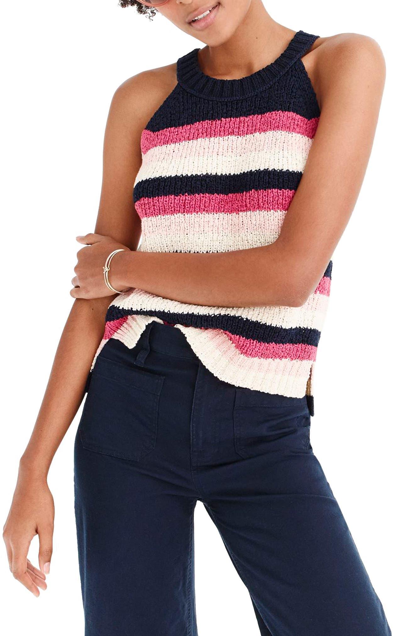 Point Sur Stripe Tank Sweater,                             Main thumbnail 1, color,                             Navy Rose Multi