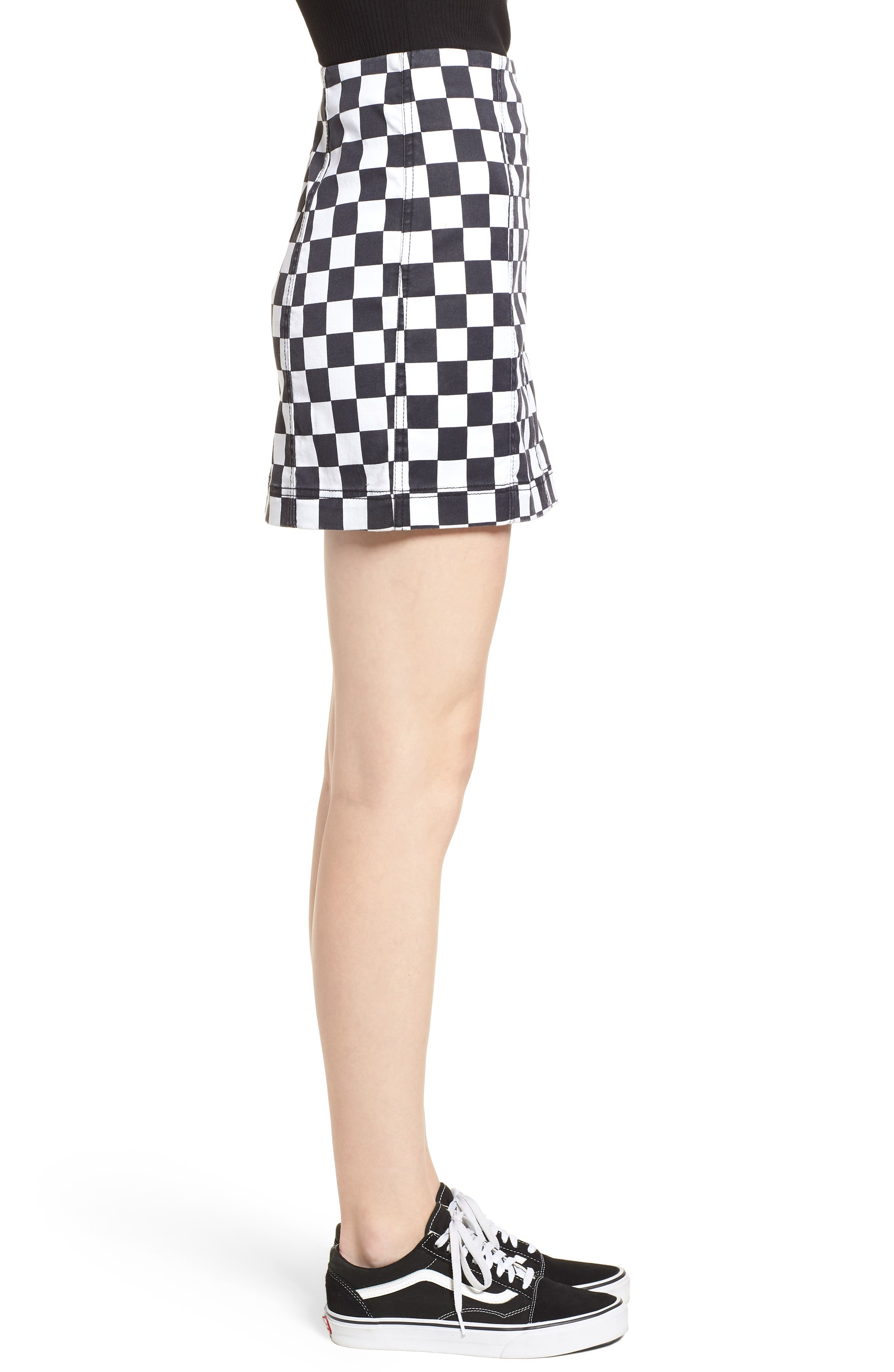 Checkered Denim Miniskirt,                             Alternate thumbnail 5, color,                             Black/ White Checkered