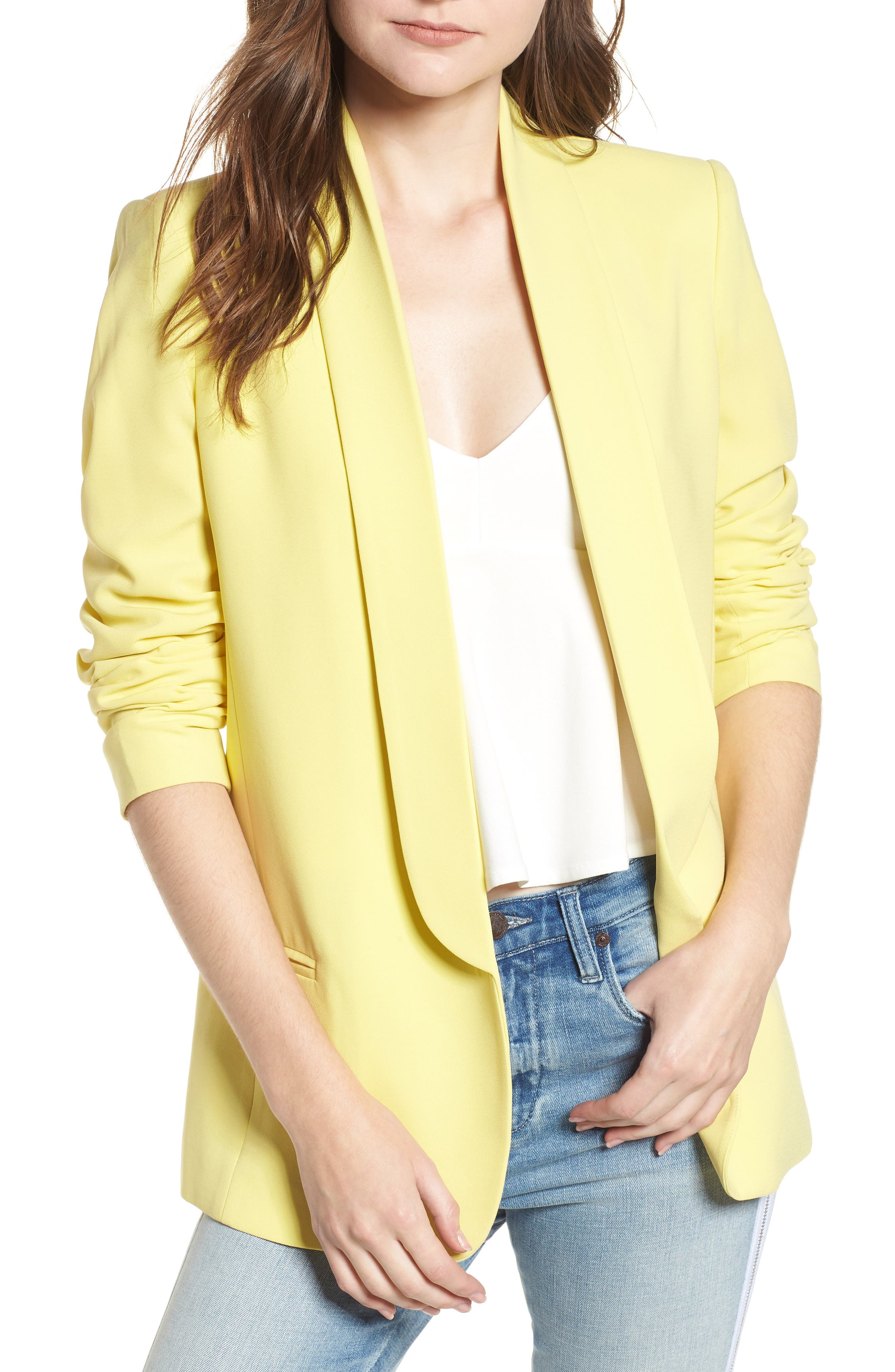 Slouchy Boyfriend Blazer,                             Main thumbnail 1, color,                             Yellow Canary