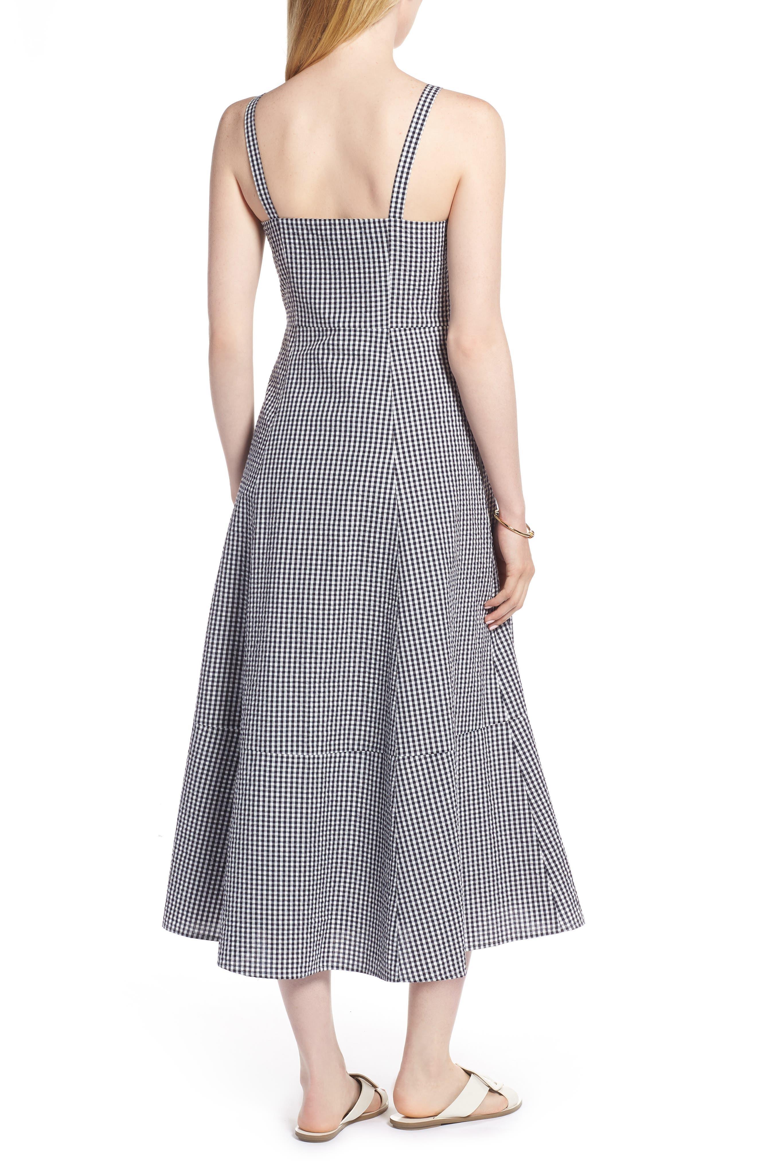 Gingham Button Front Cotton Blend Dress,                             Alternate thumbnail 2, color,                             Navy- White Gingham