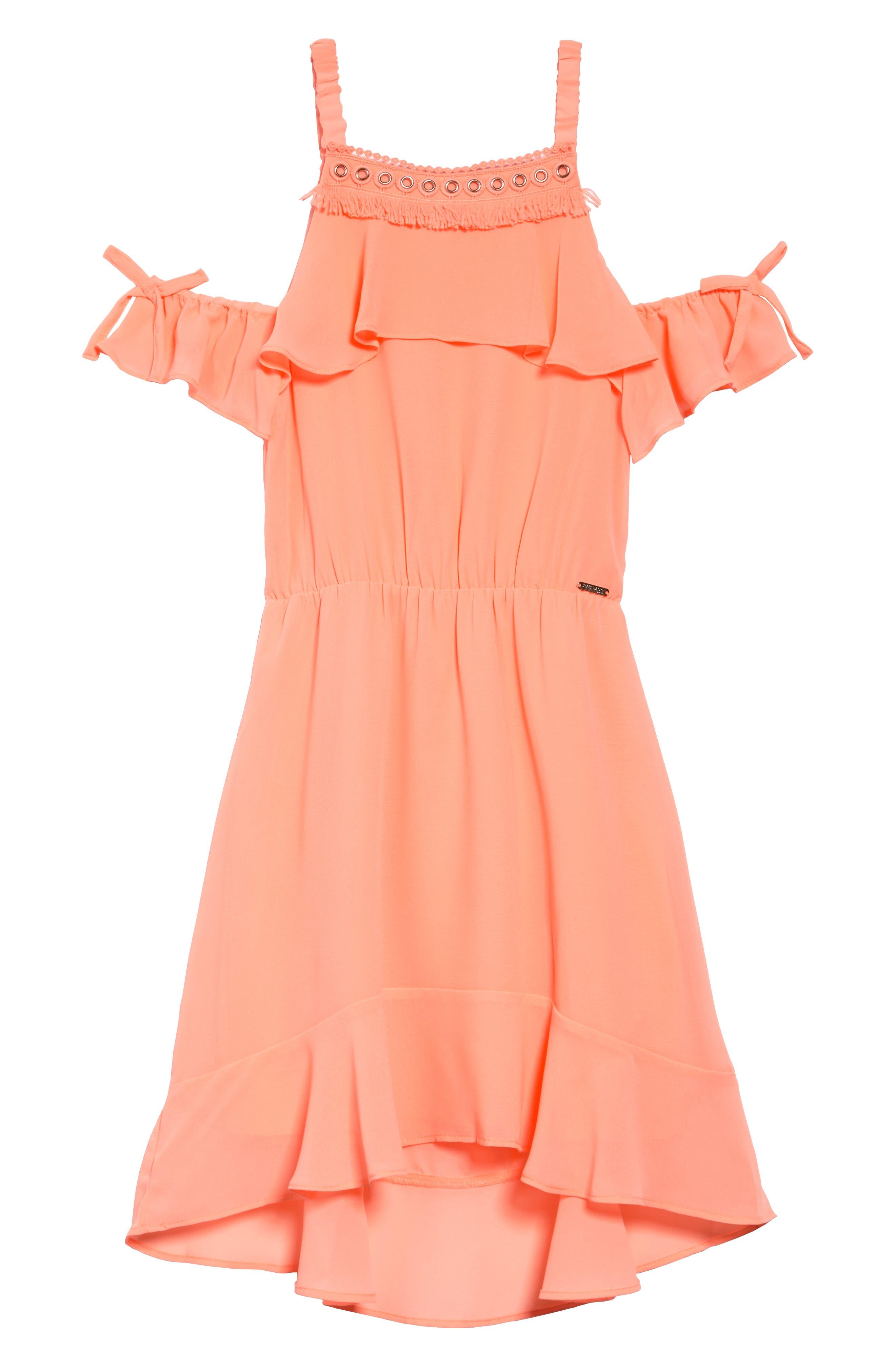 Ruffle Cold Shoulder Dress,                             Main thumbnail 1, color,                             Tropic Coral