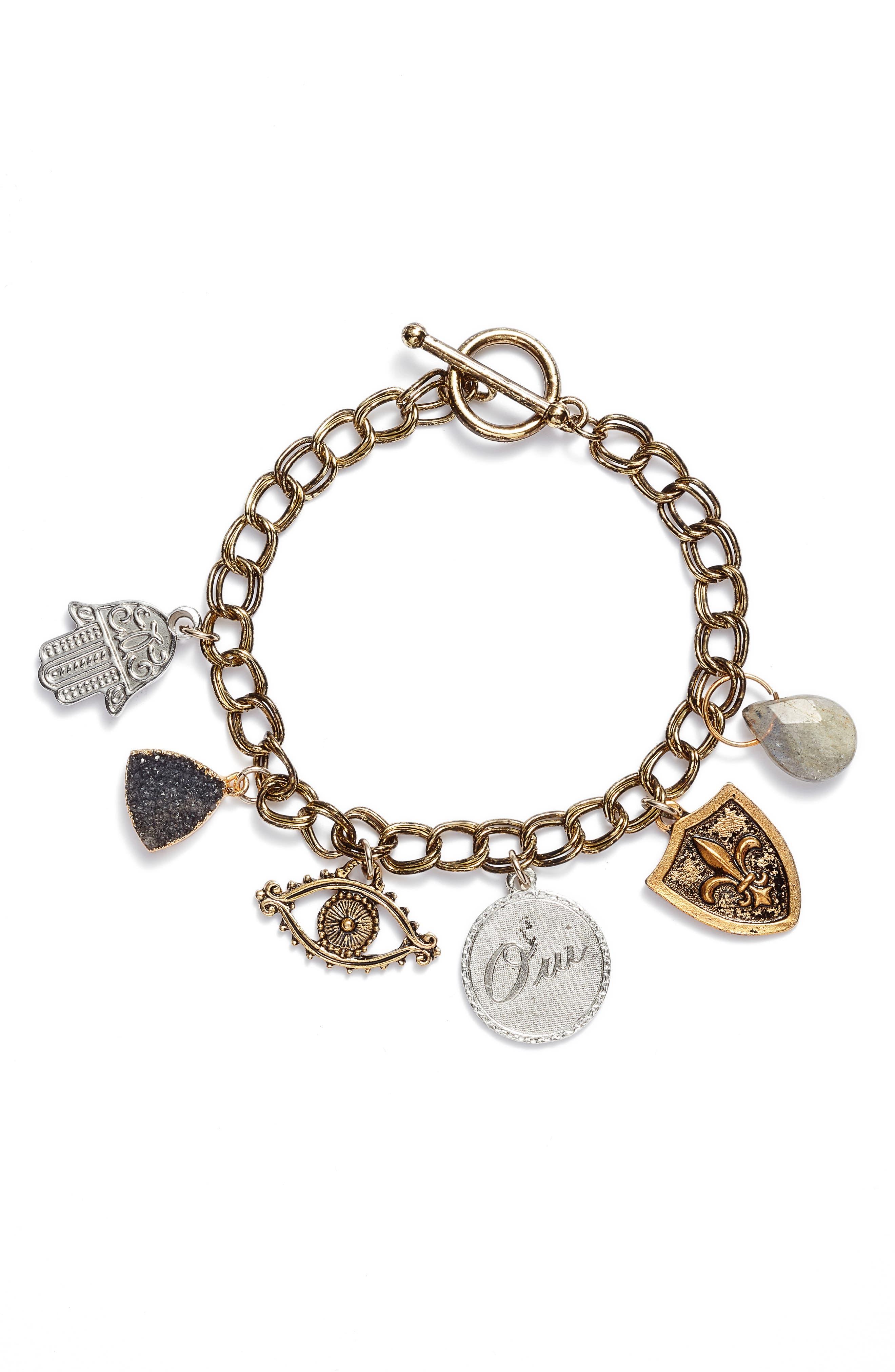 Lolita Charm Bracelet,                         Main,                         color, Gold