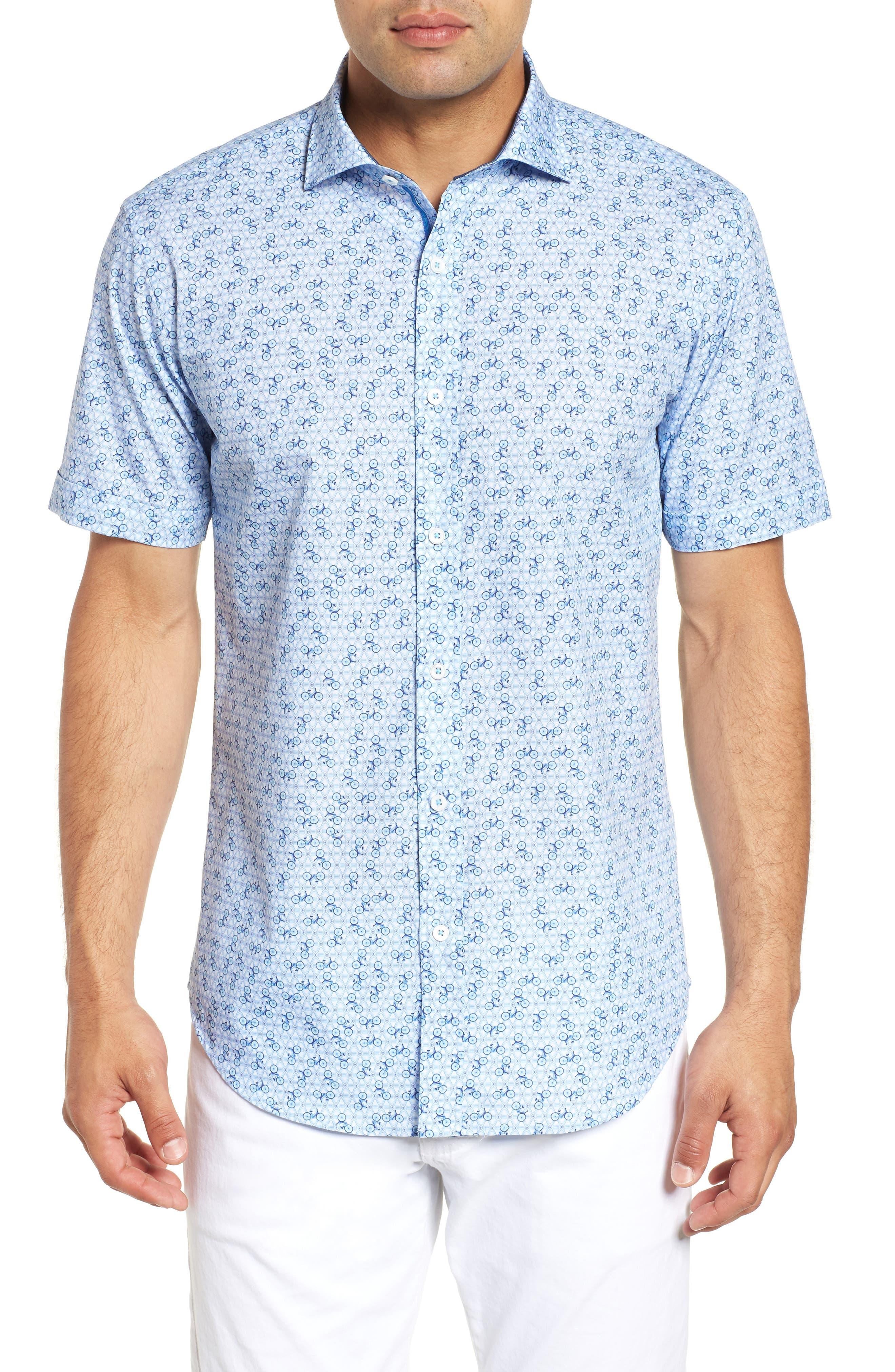 Shaped Fit Print Sport Shirt,                             Main thumbnail 1, color,                             Ice Blue