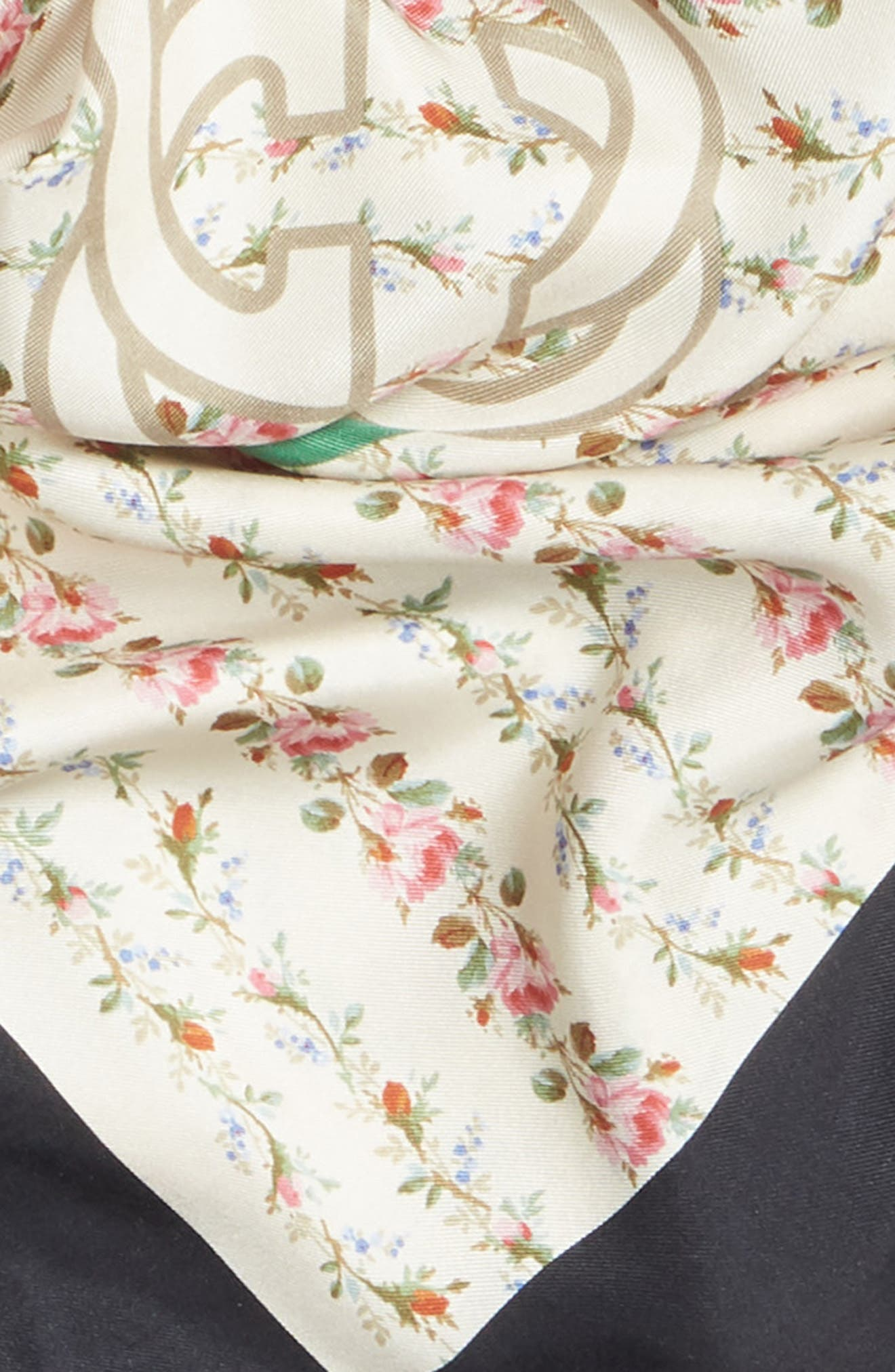 New Flora Silk Scarf,                             Alternate thumbnail 4, color,                             Ivory