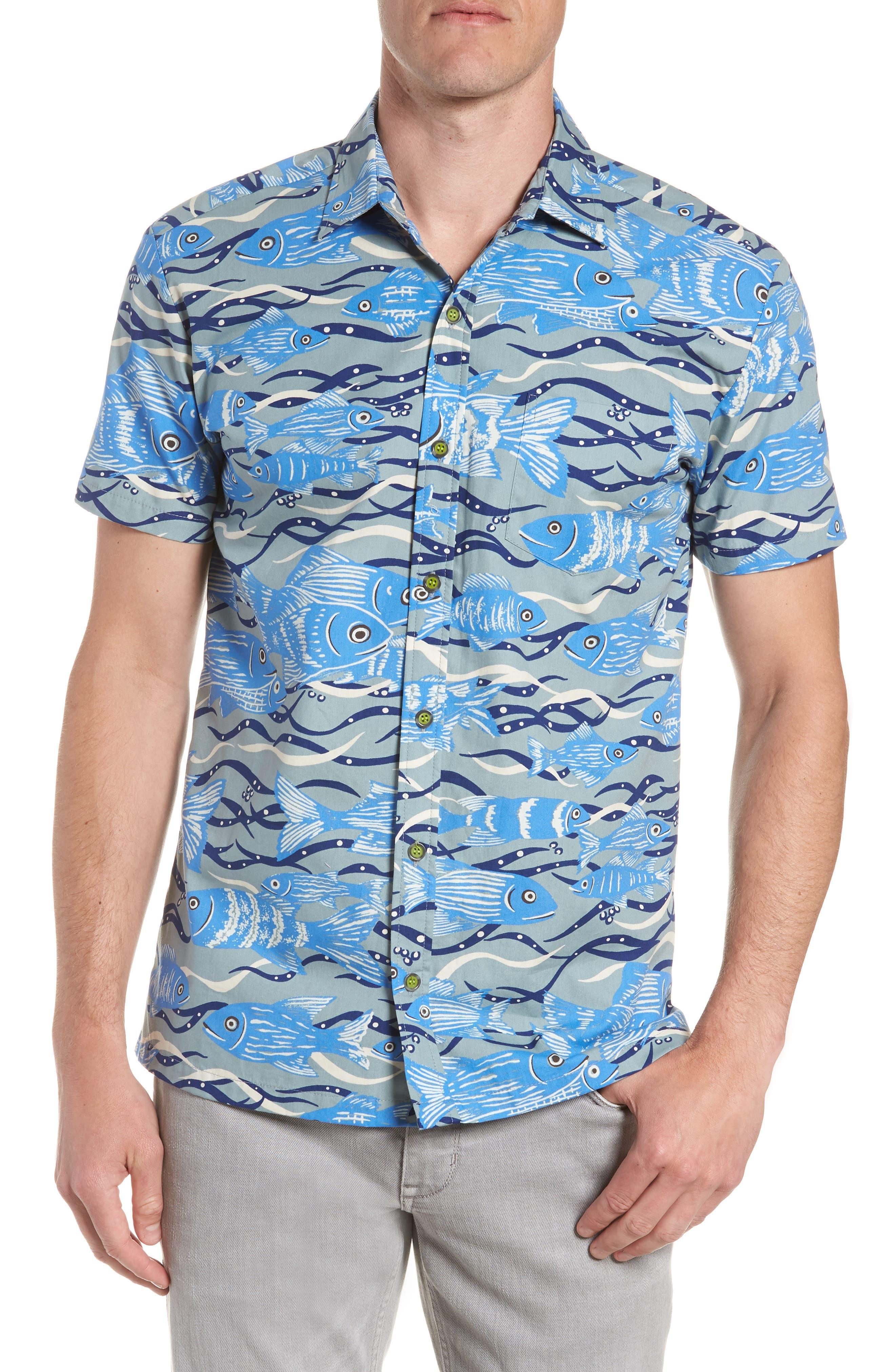 Sea Tangle Trim Fit Sport Shirt,                             Main thumbnail 1, color,                             Grey