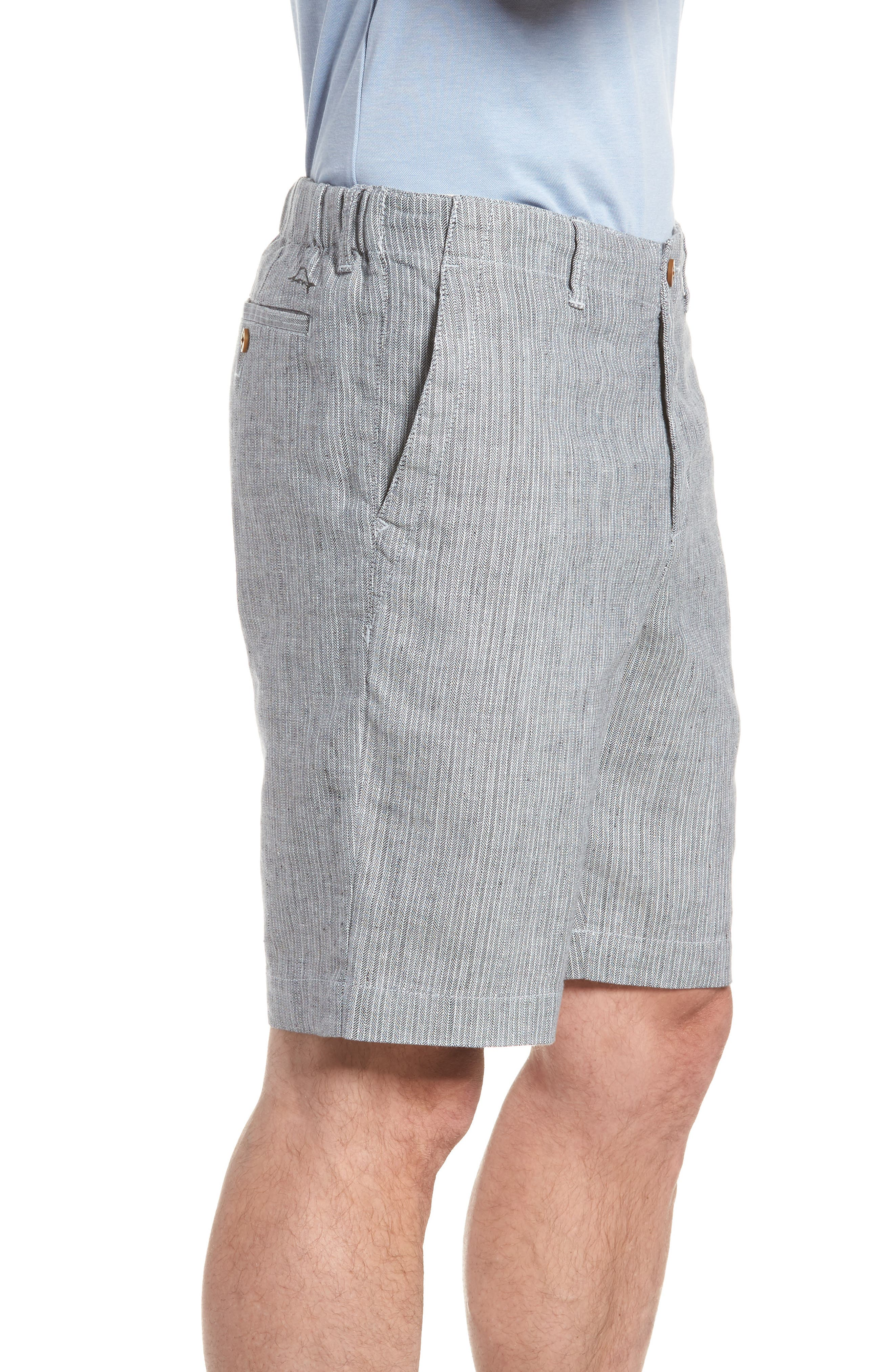 Harbor Herringbone Linen Blend Shorts,                             Alternate thumbnail 3, color,                             Black