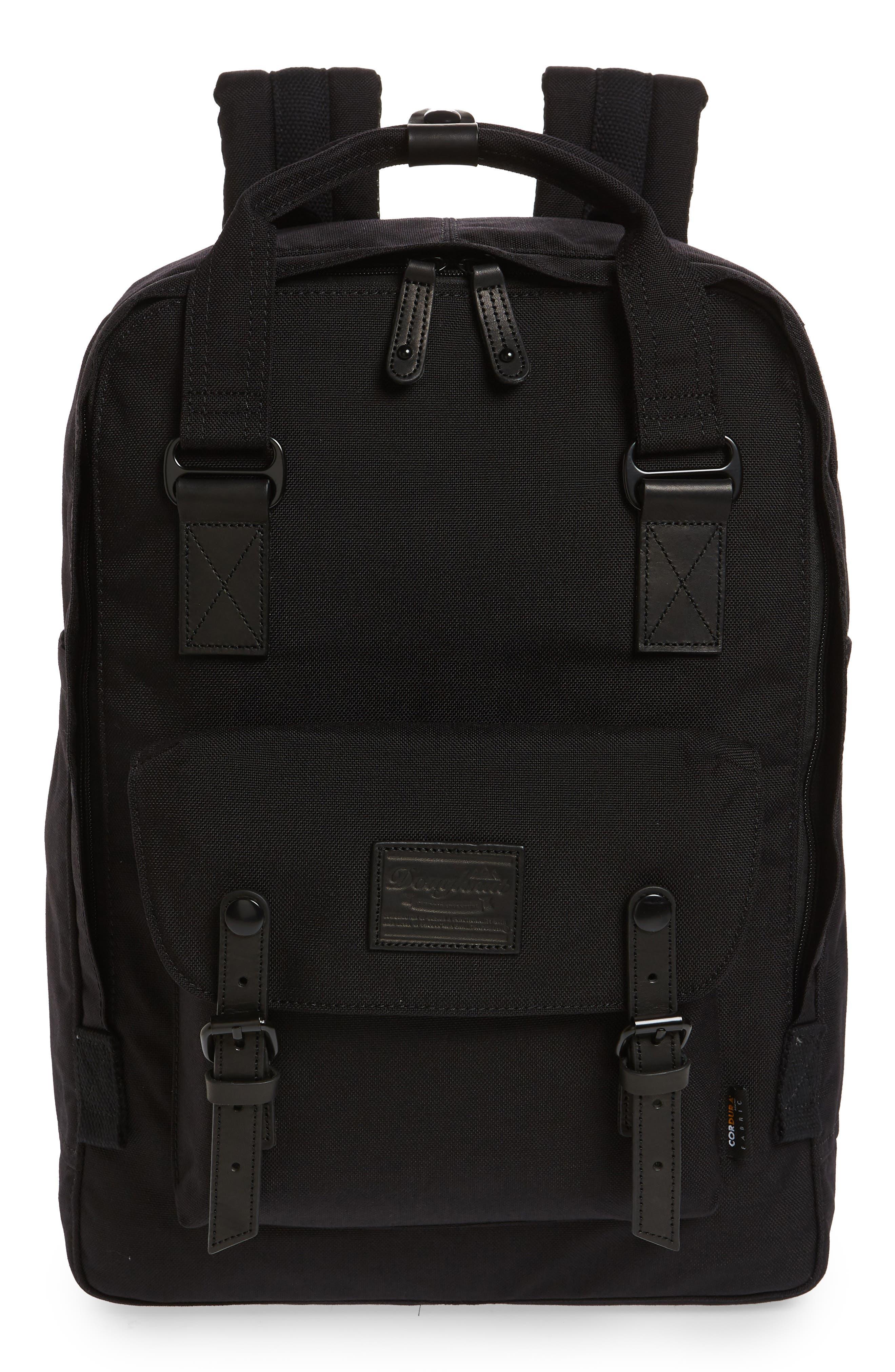 Macaroon Large Cordura<sup>®</sup> Black Series Water Repellent Backpack,                         Main,                         color, Black