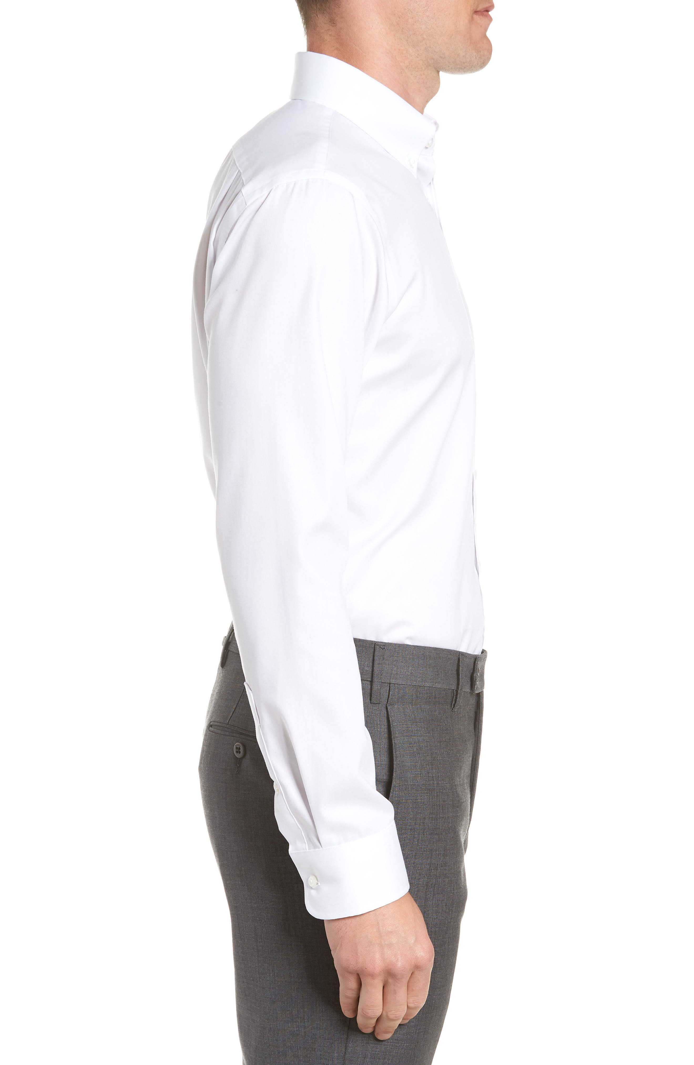 Trim Fit Non-Iron Dress Shirt,                             Alternate thumbnail 4, color,                             White