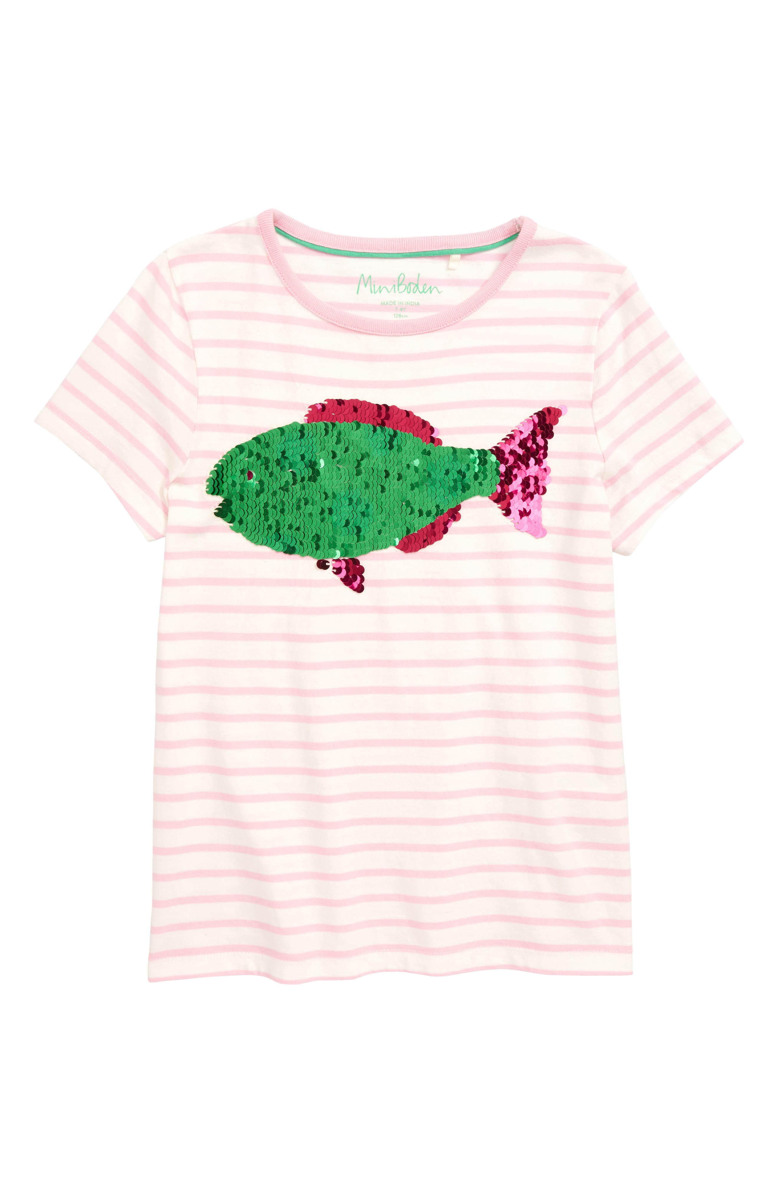 Sunny Color Change Tee,                             Main thumbnail 1, color,                             Ivory/ Rosebud Pink Fish