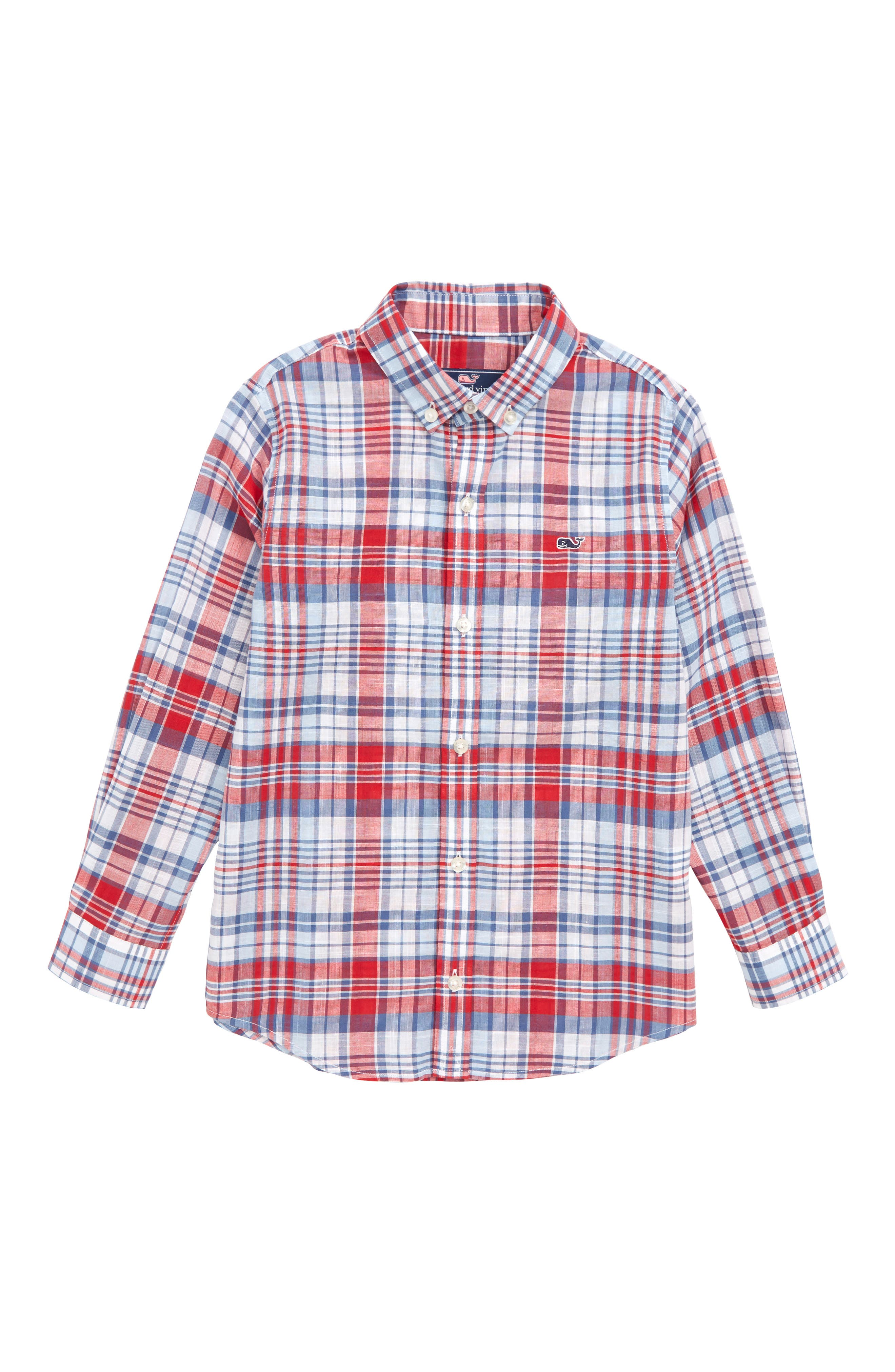 Firework Plaid Whale Shirt,                             Main thumbnail 1, color,                             Lighthouse Red