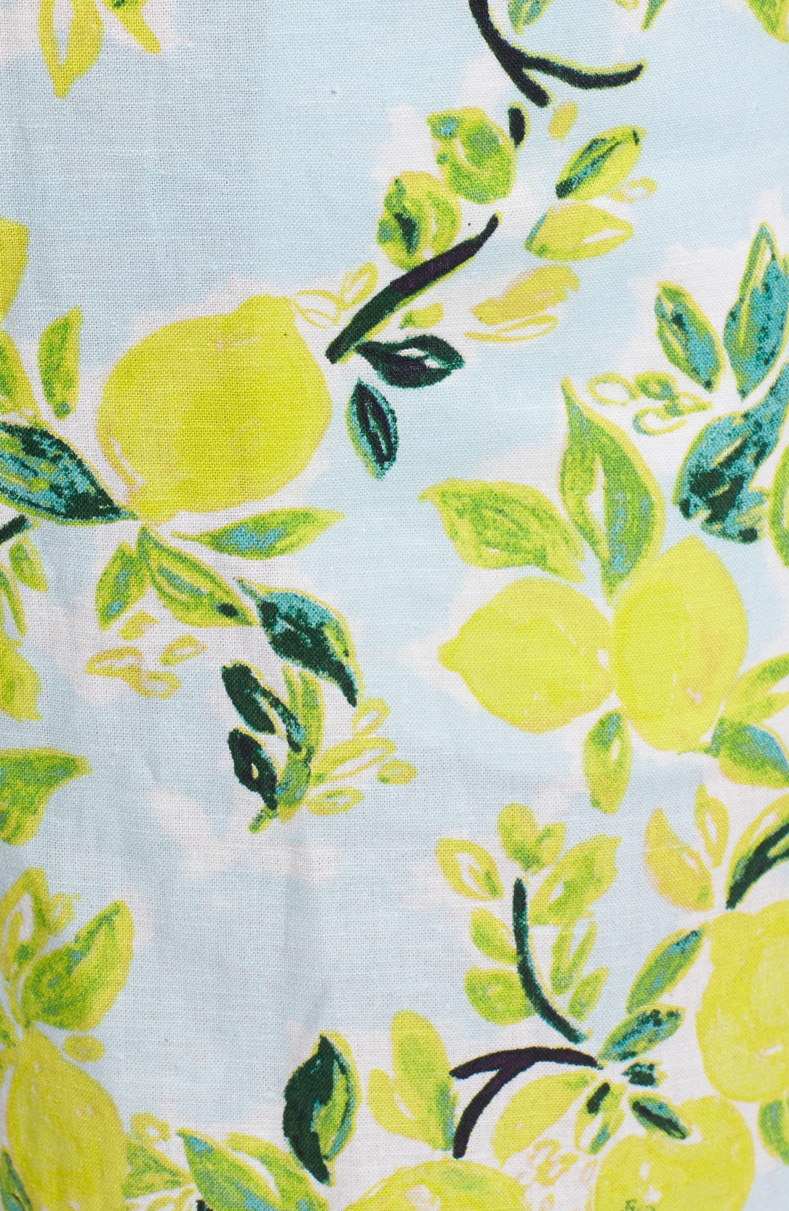 Print Linen Blend Shorts,                             Alternate thumbnail 5, color,                             Blue- Yellow Citrus Print