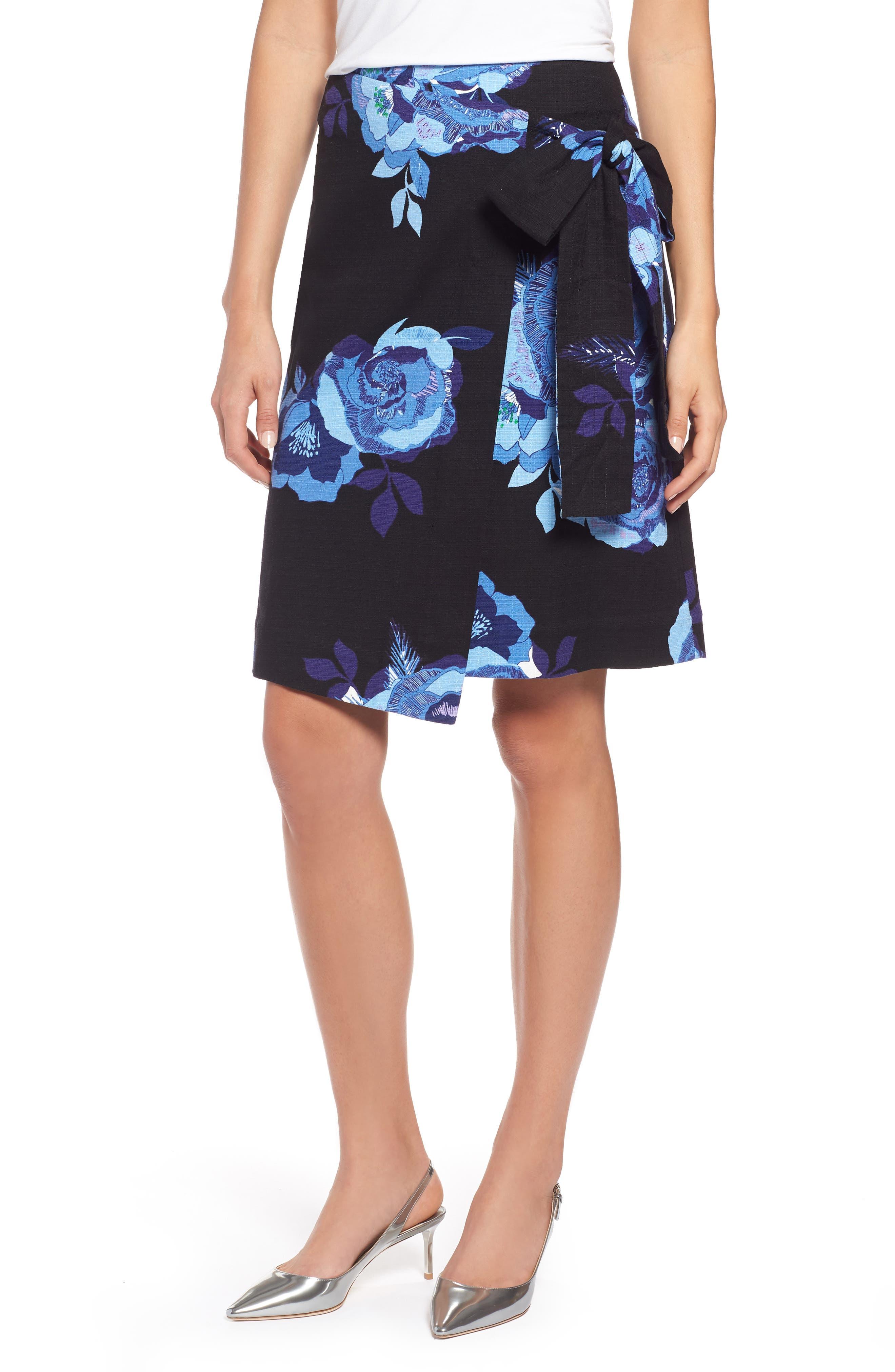 Floral Cotton Blend Wrap Skirt,                             Main thumbnail 1, color,                             Black- Blue Rose Print