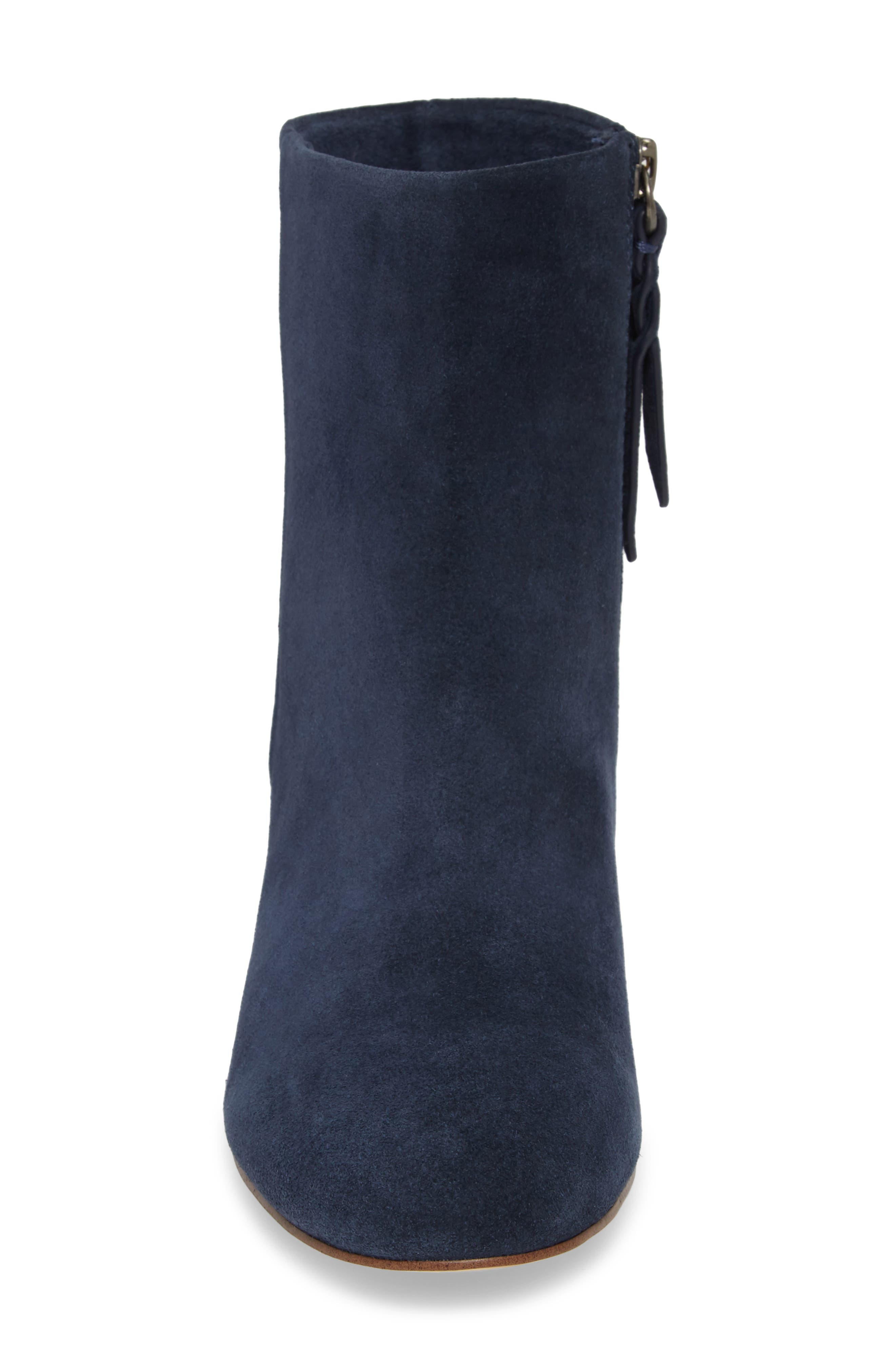 Nixie Bootie,                             Alternate thumbnail 4, color,                             Navy Suede